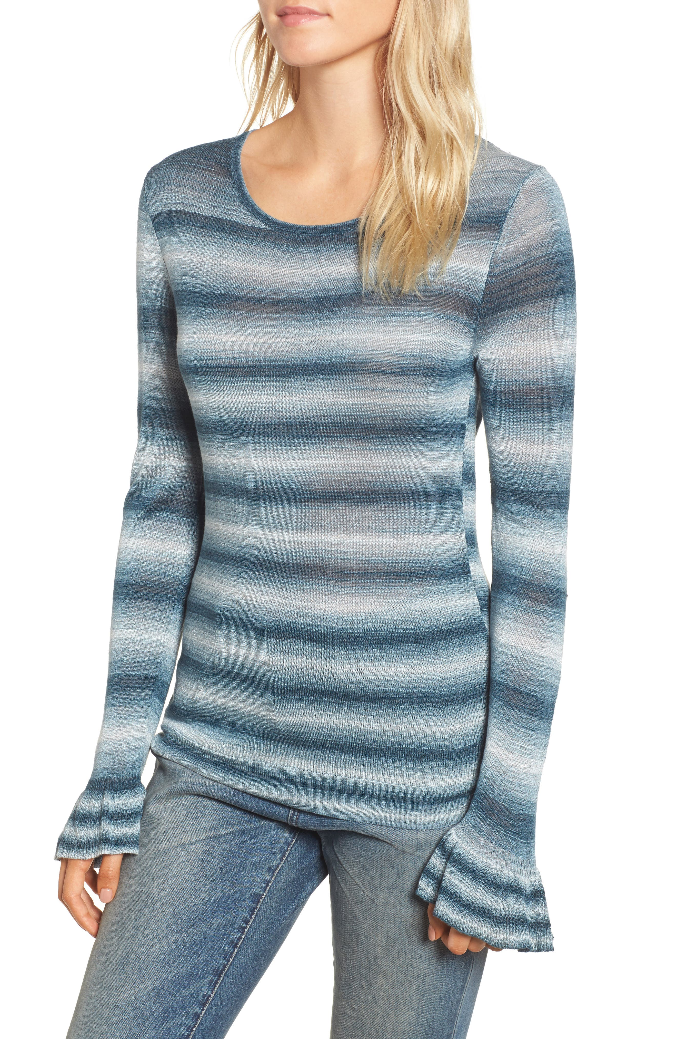 Gradient Stripe Sweater,                             Main thumbnail 1, color,                             Teal Abyss Combo