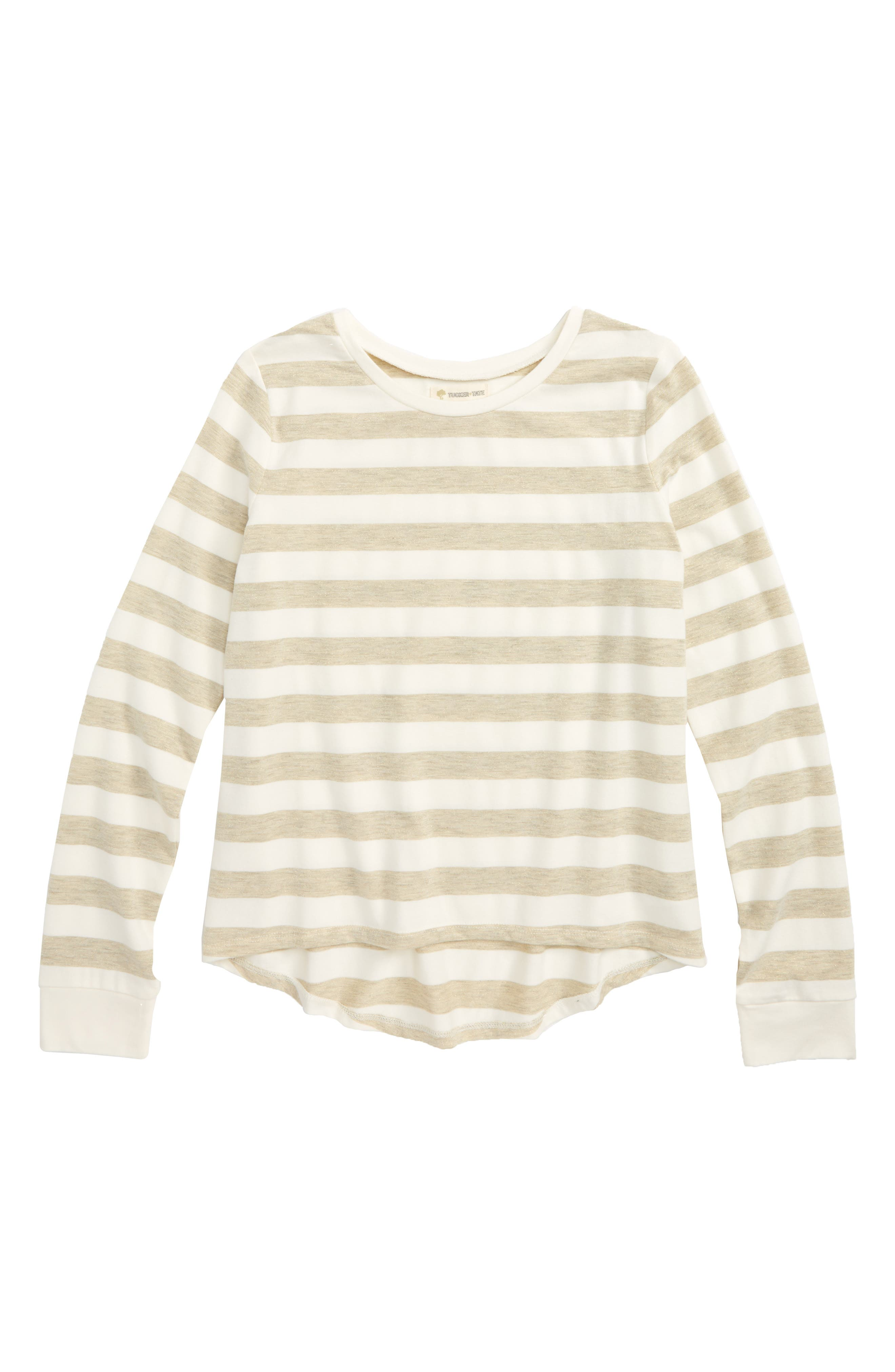 Stripe Tee,                         Main,                         color, Ivory Egret- Gold Sparkle