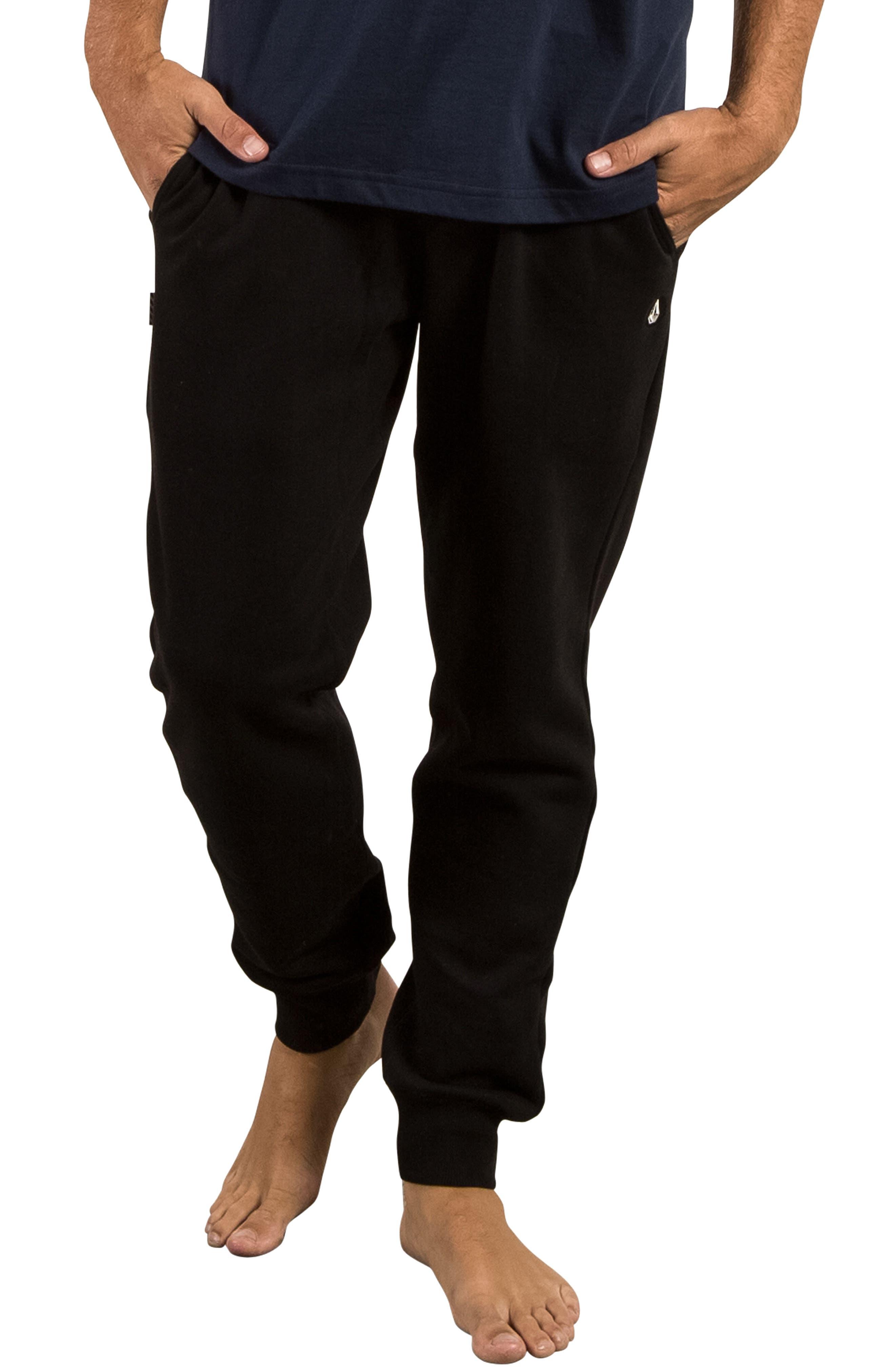 Single Stone Fleece Sweatpants,                             Main thumbnail 1, color,                             Black