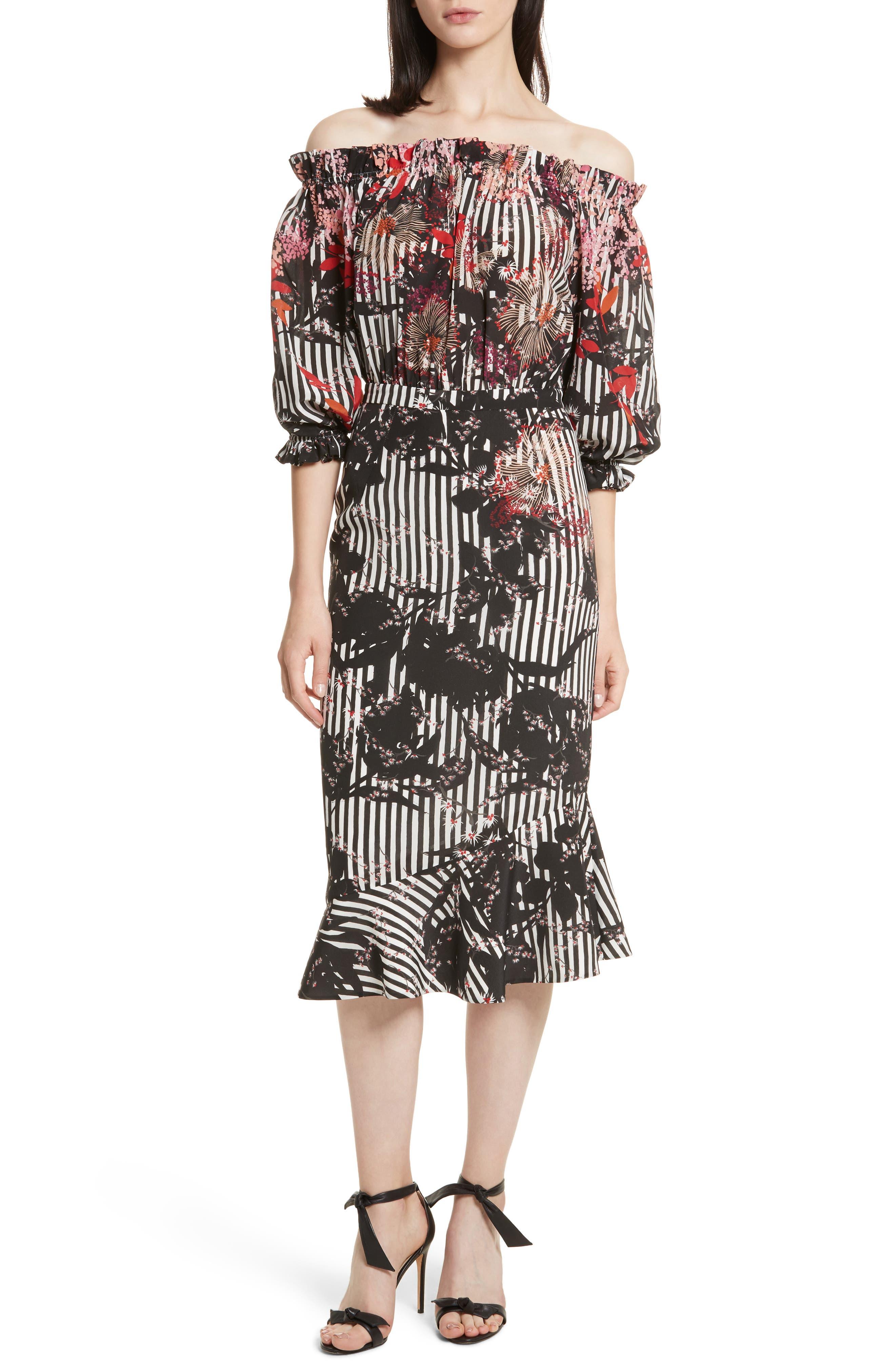 Alternate Image 1 Selected - SALONI Grace Print Silk Off the Shoulder Dress