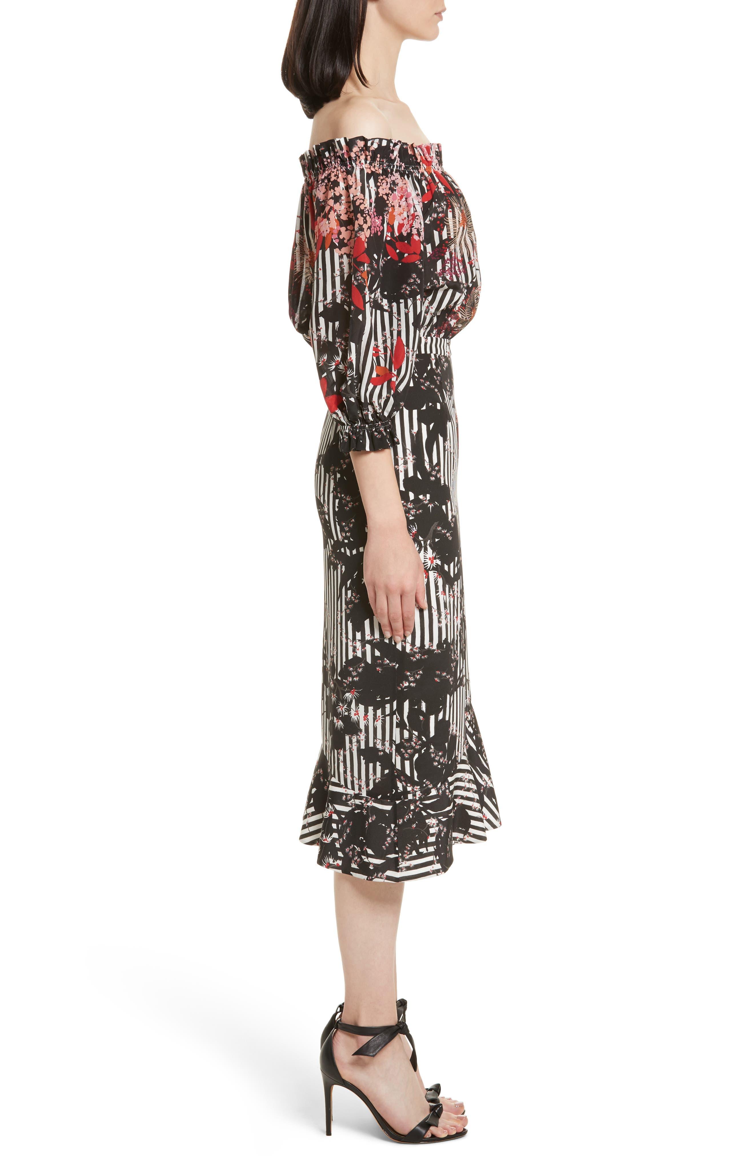 Alternate Image 3  - SALONI Grace Print Silk Off the Shoulder Dress