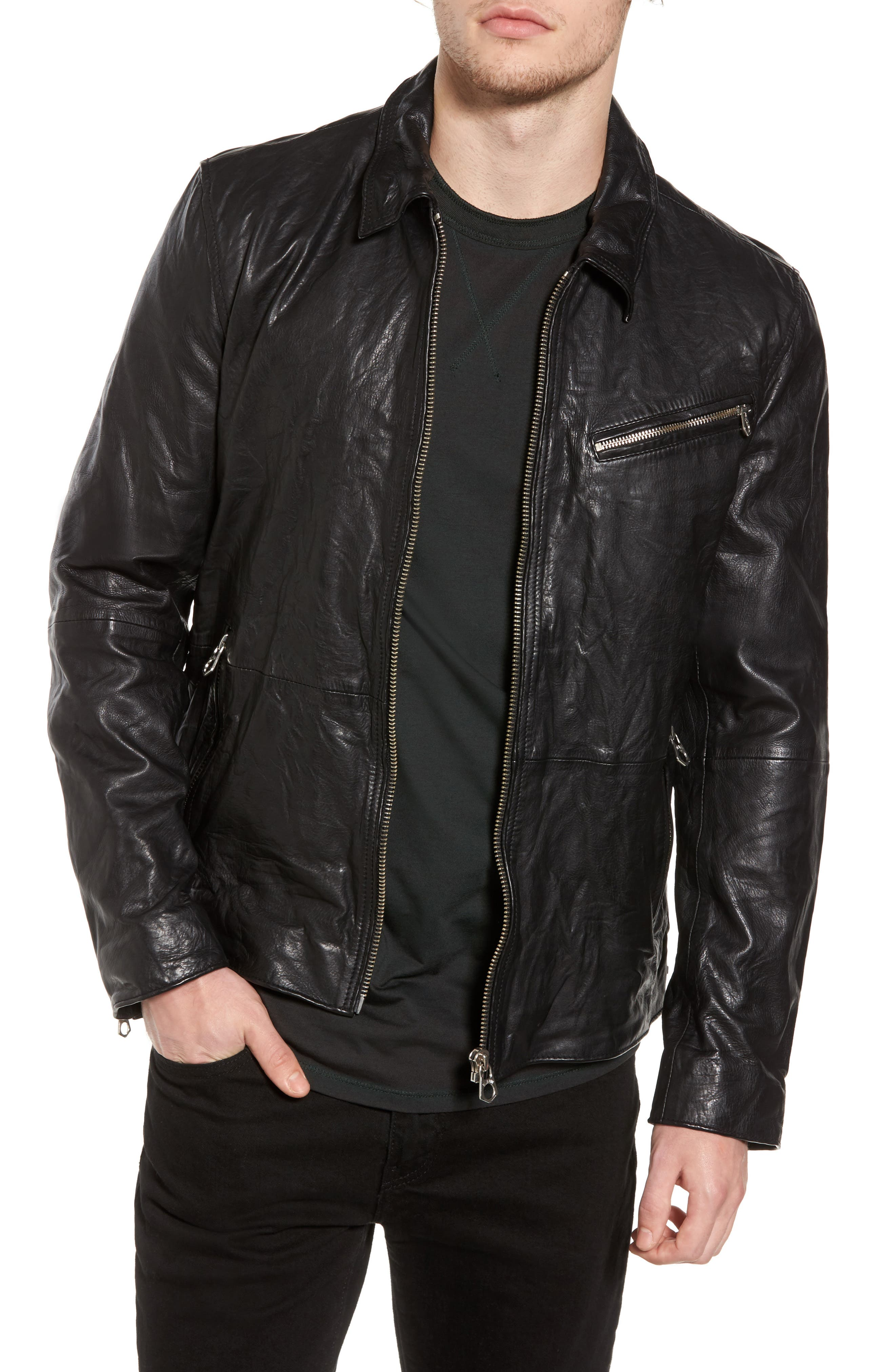 Lightweight Washed Leather Jacket,                             Main thumbnail 1, color,                             Black