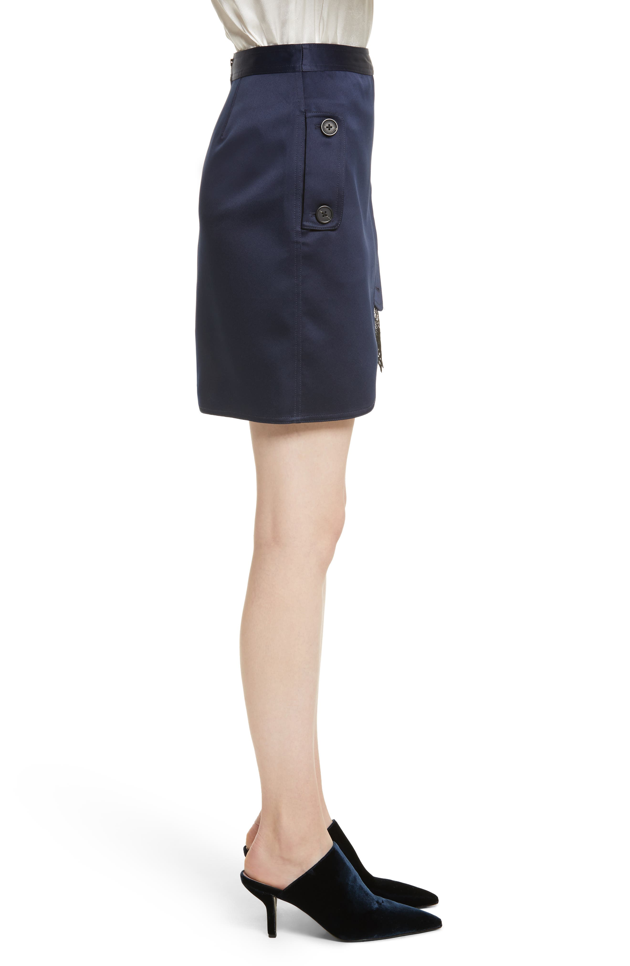 Satin Utility Miniskirt,                             Alternate thumbnail 3, color,                             Navy
