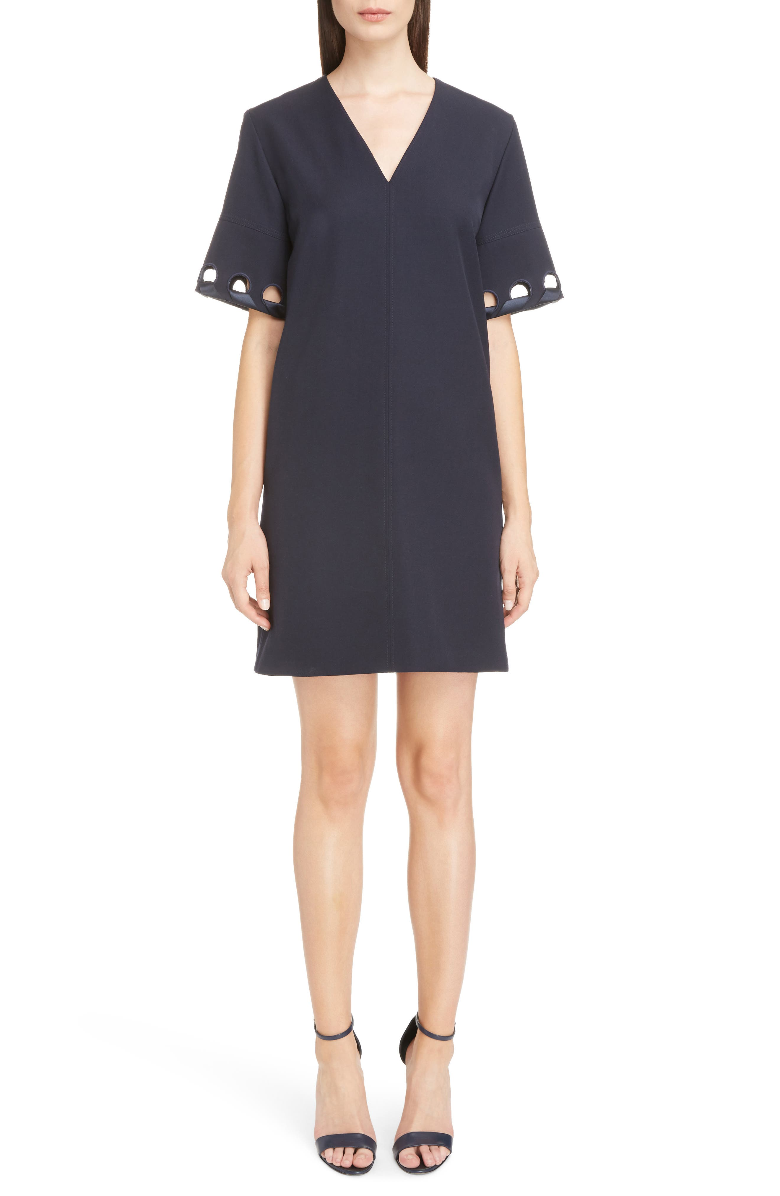 Lace Sleeve Wool Shift Dress,                         Main,                         color, Navy