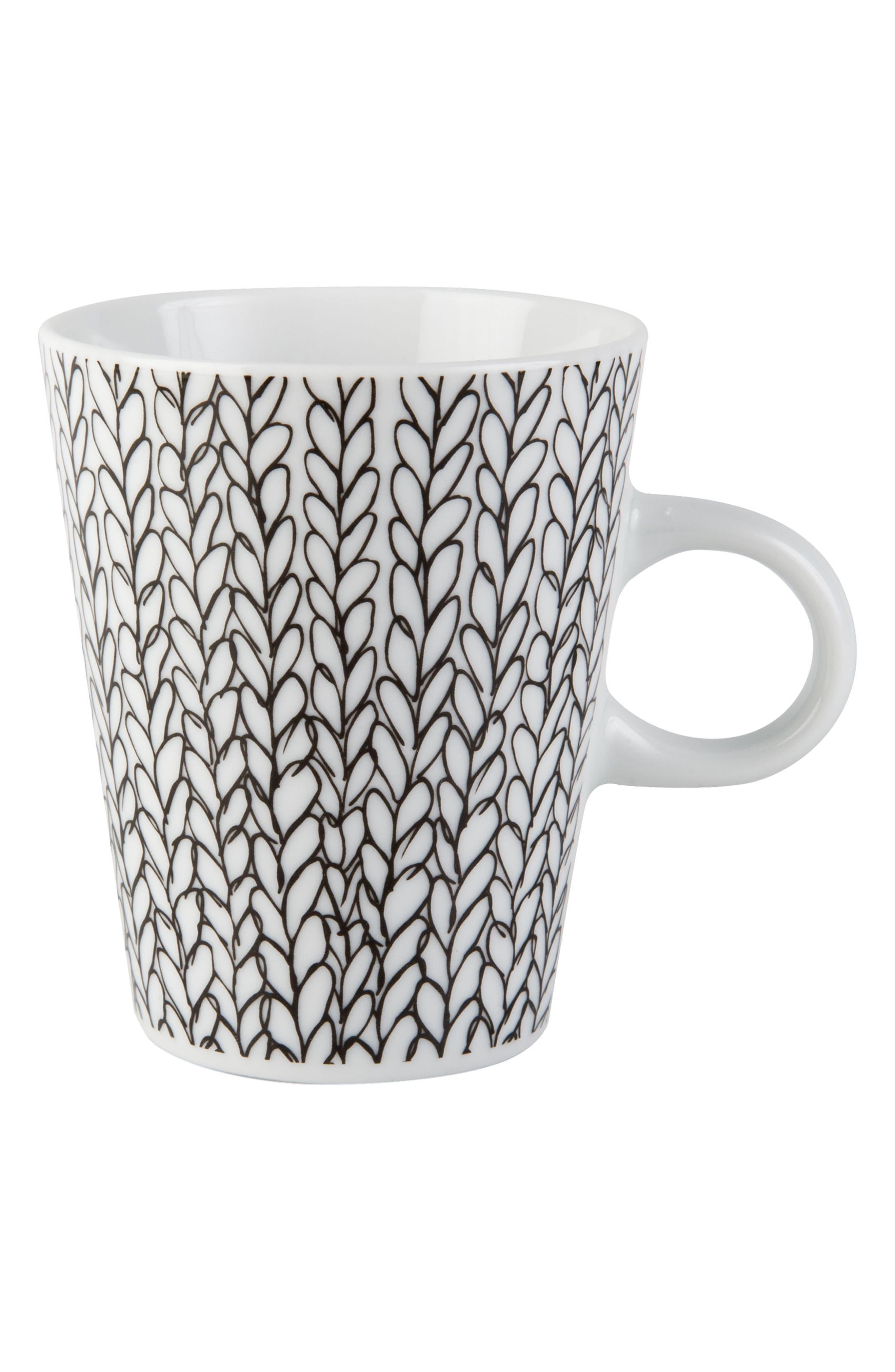 Patterned Porcelain Mug,                         Main,                         color, White