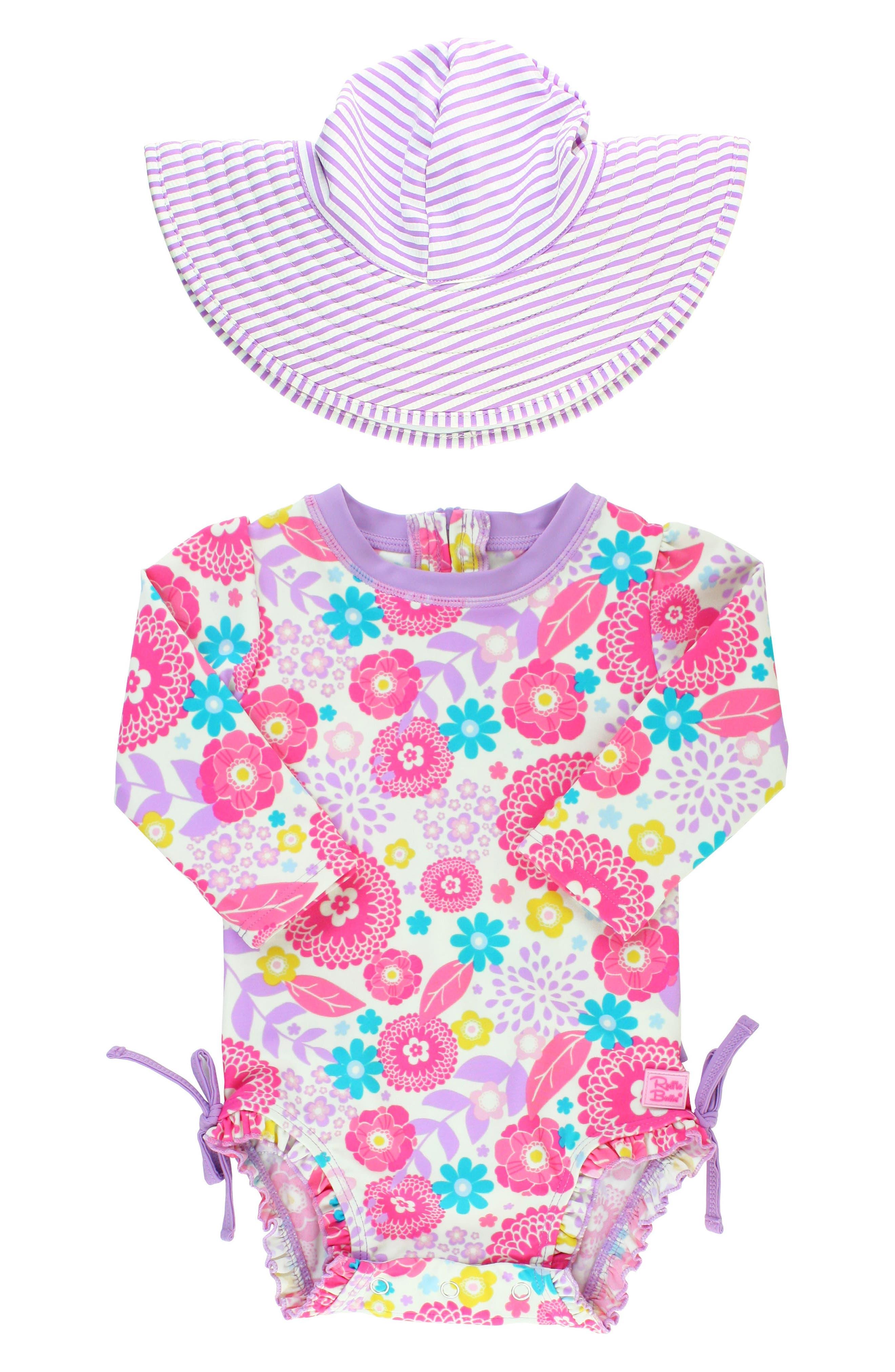 Main Image - RuffleButts Blooming Buttercups One-Piece Rashguard Swimsuit & Hat Set (Baby Girls)