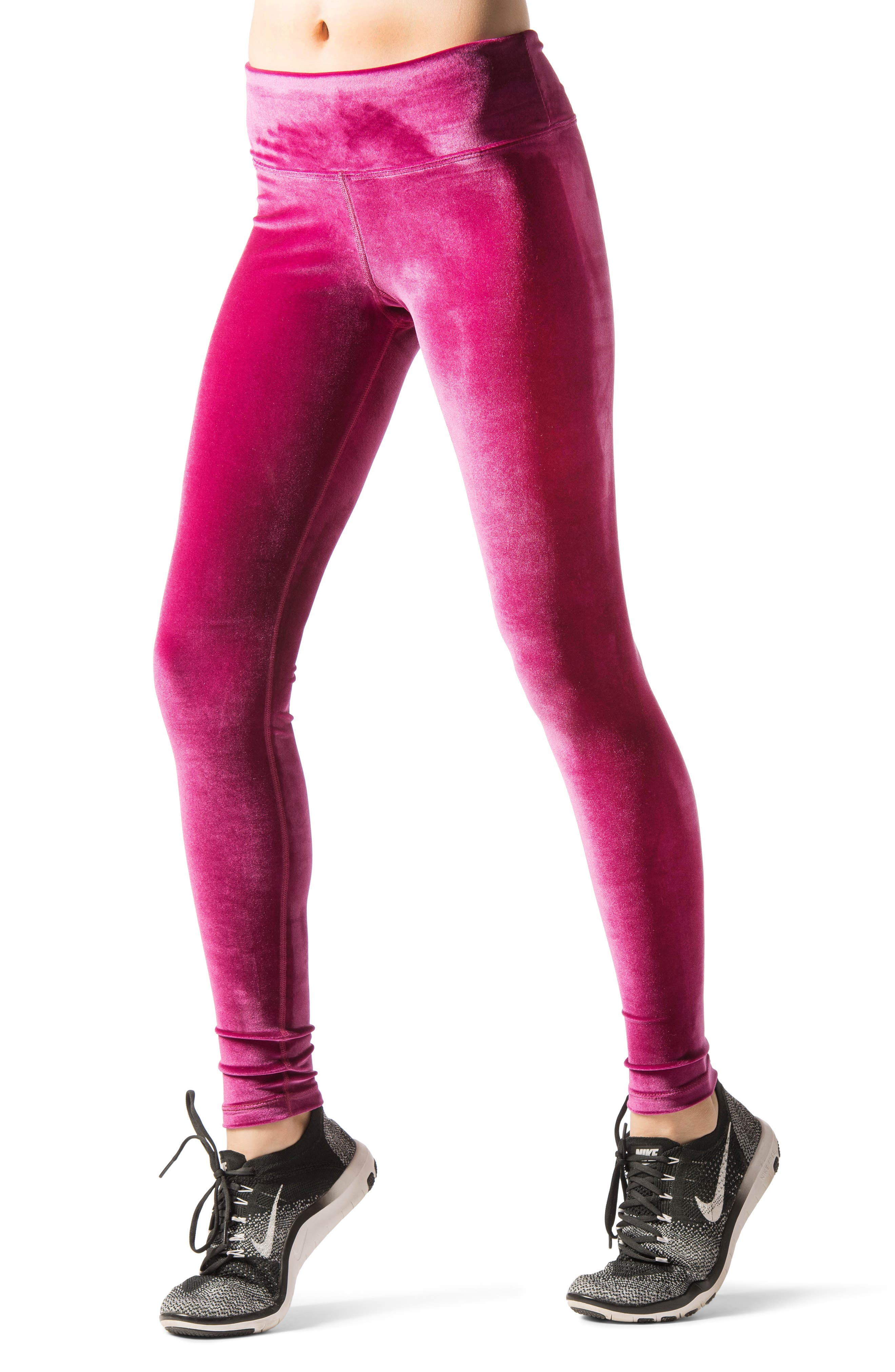Velour Leggings,                             Alternate thumbnail 3, color,                             Wild Rose