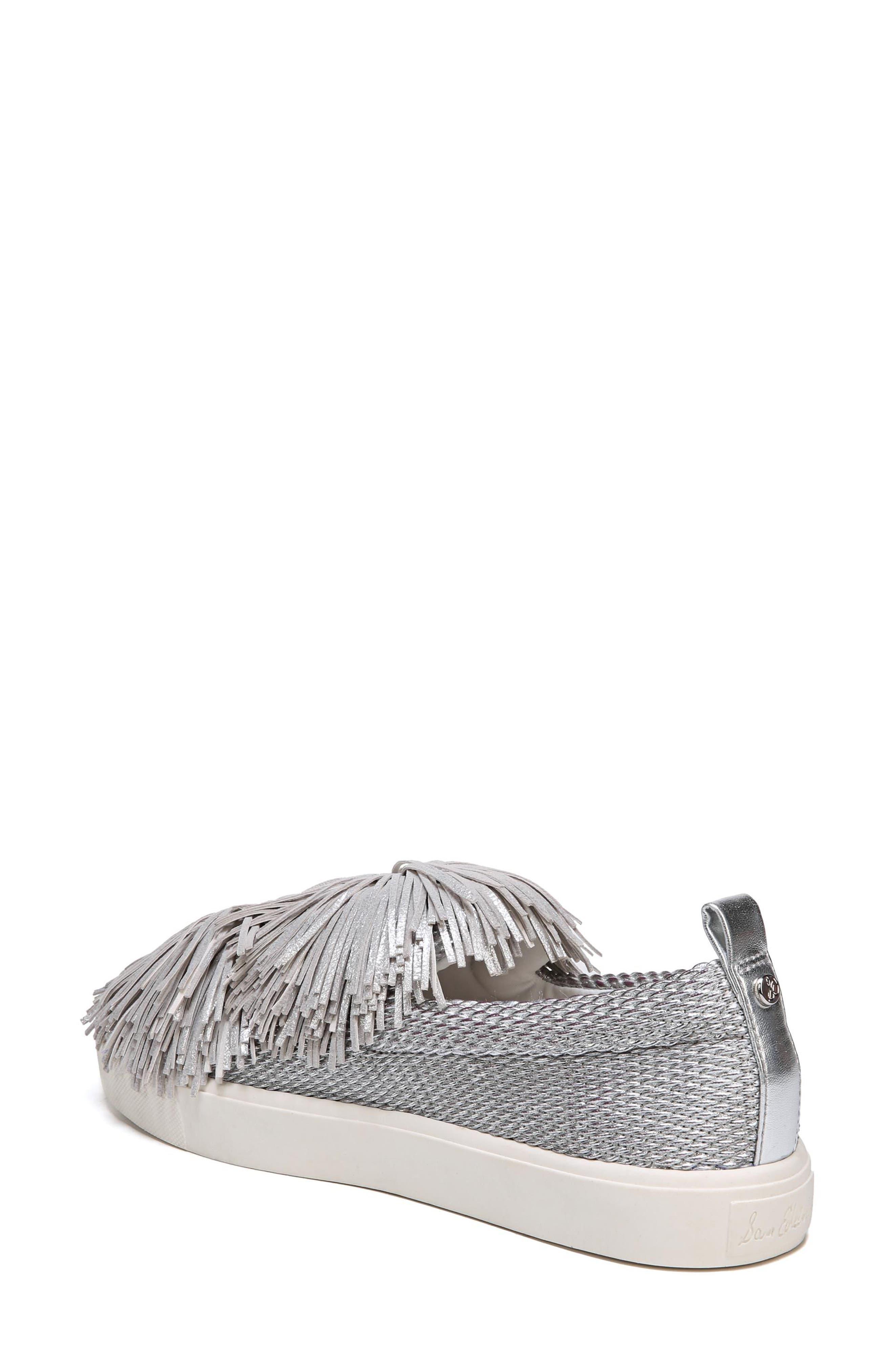 Emory Fringe Pompom Sneaker,                             Alternate thumbnail 2, color,                             Metallic Silver