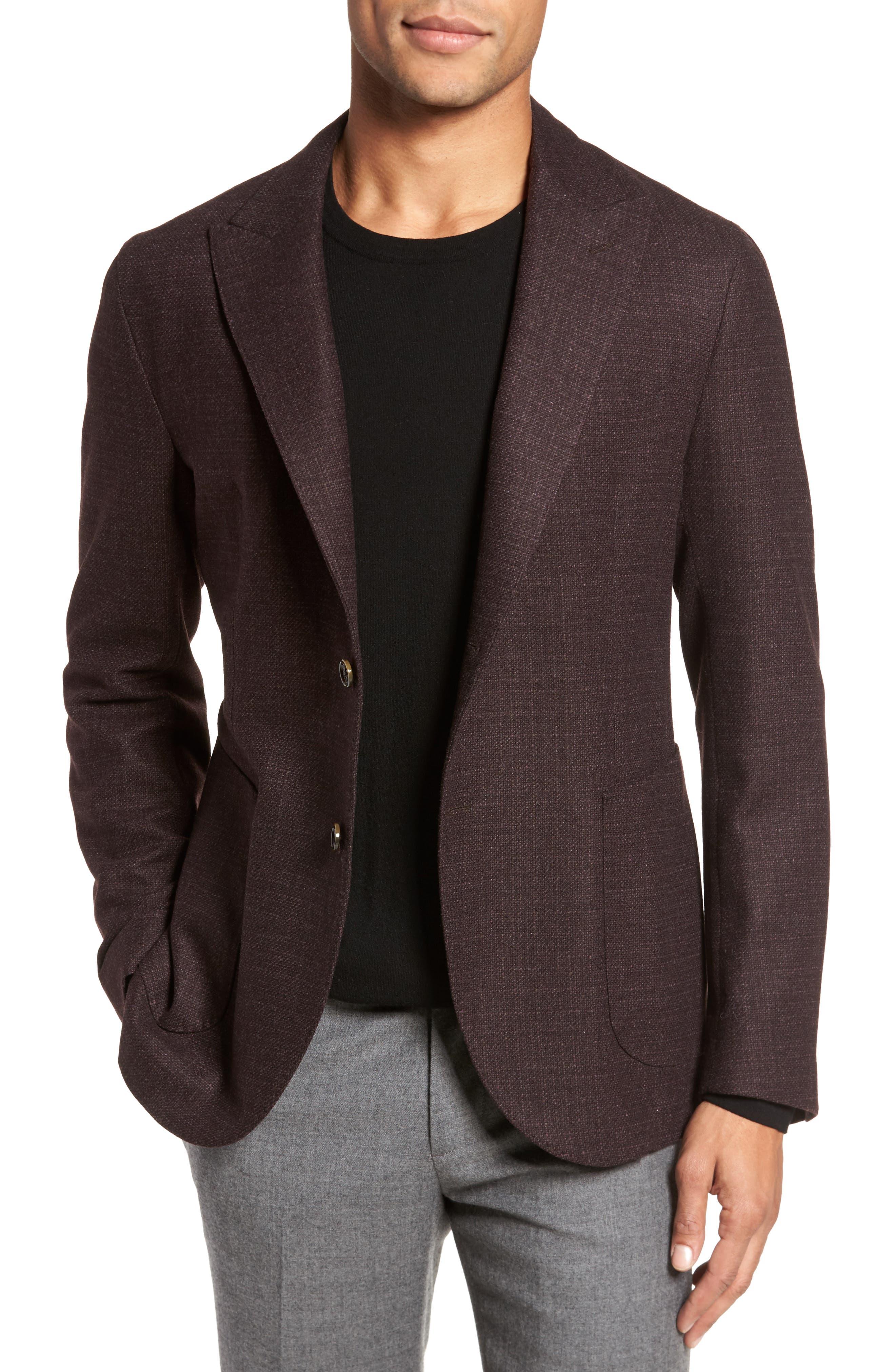 Trim Fit Wool & Cashmere Blazer,                             Main thumbnail 1, color,                             Wine