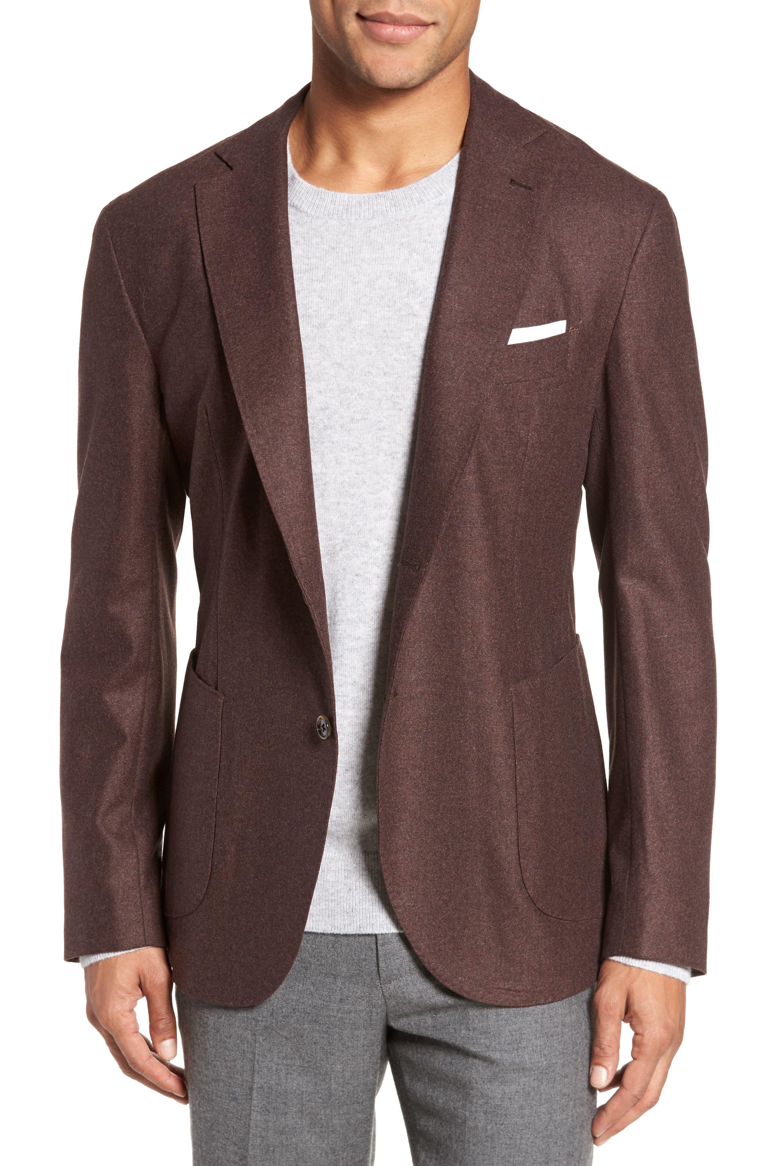 Trim Fit Wool Blend Blazer,                         Main,                         color, Camel
