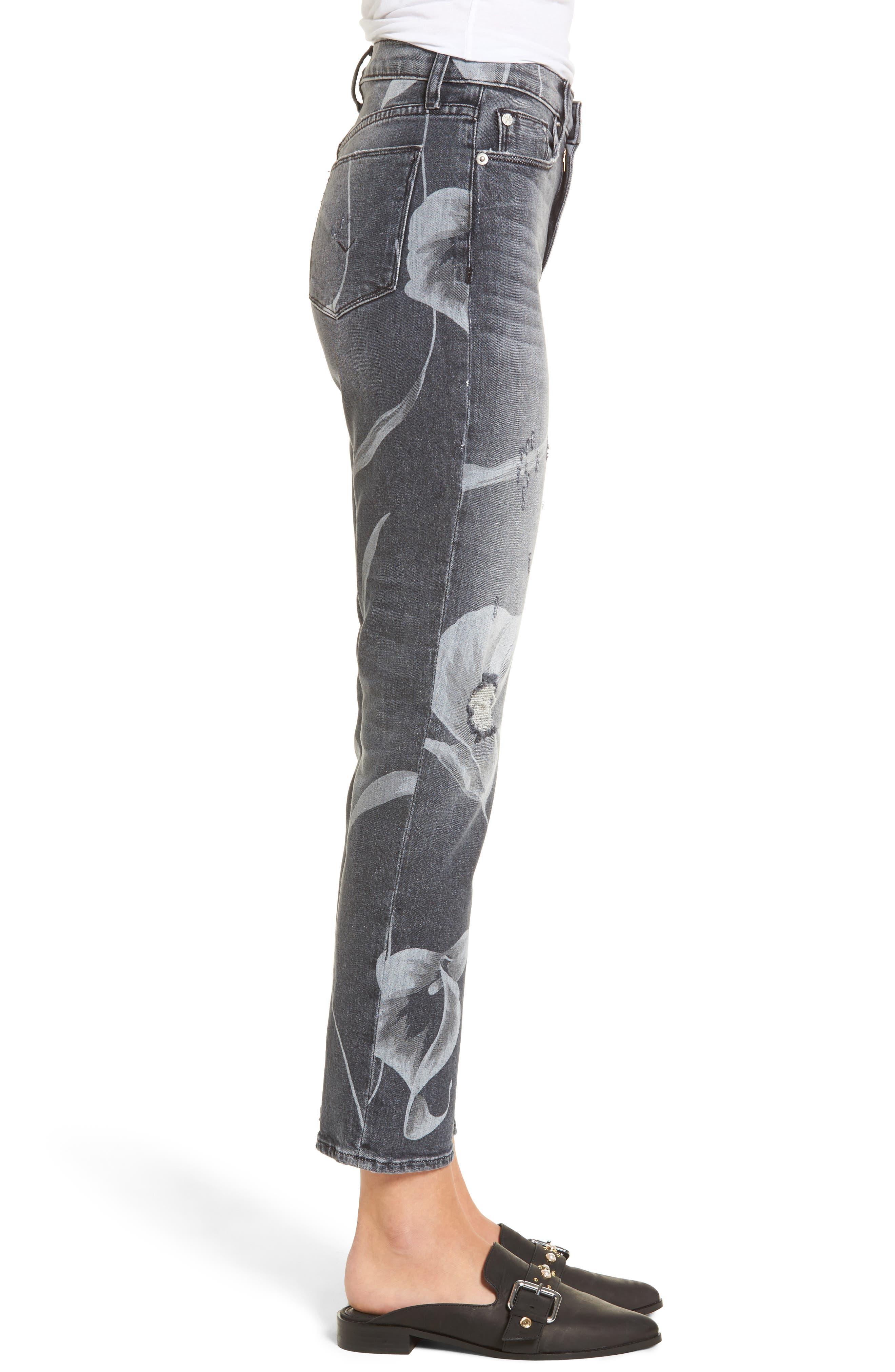 Zoeey High Waist Crop Straight Leg Jeans,                             Alternate thumbnail 3, color,                             Noir In Bloom