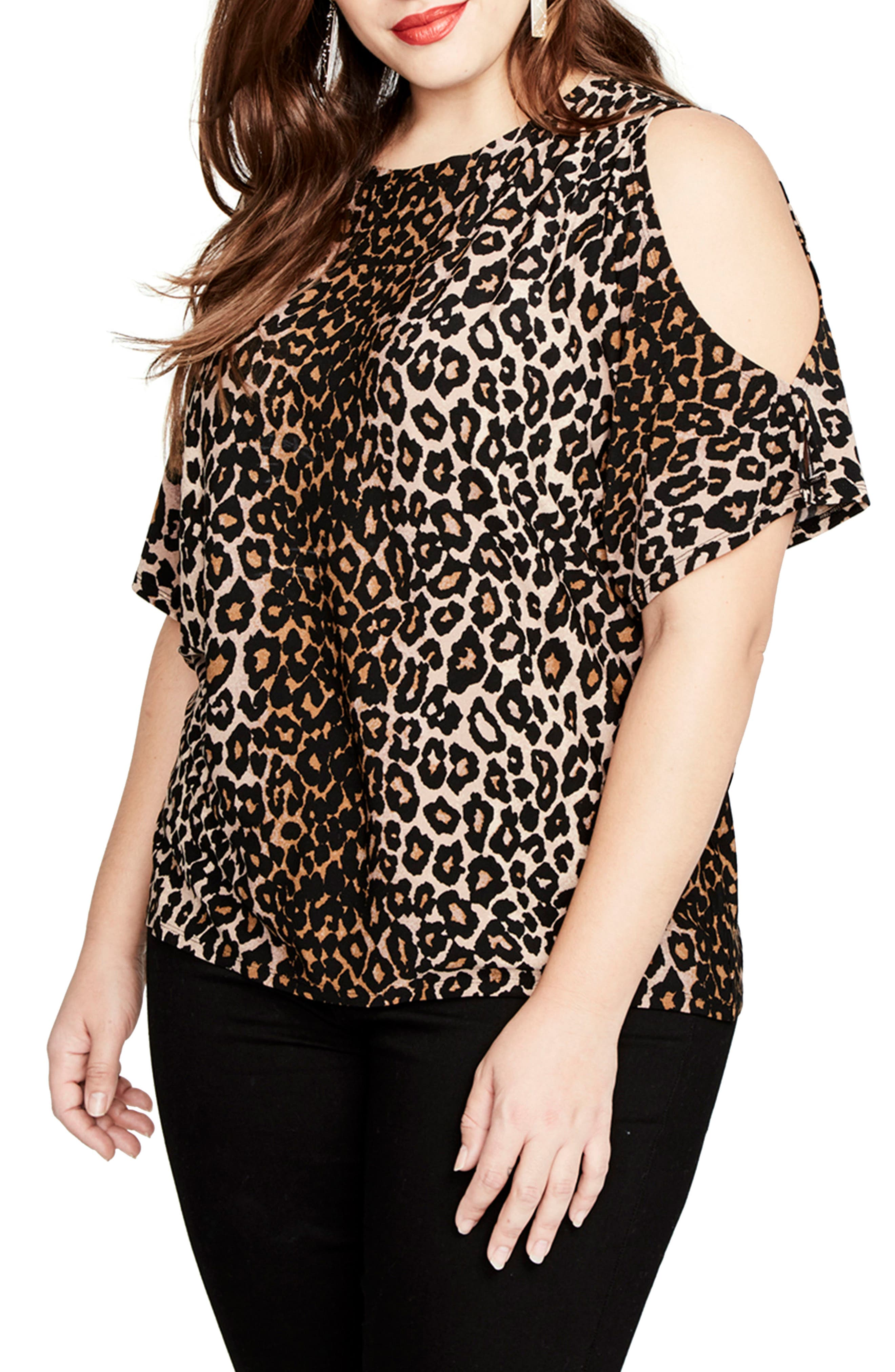 Leopard Print Cold Shoulder Top,                         Main,                         color, Leopard Combo