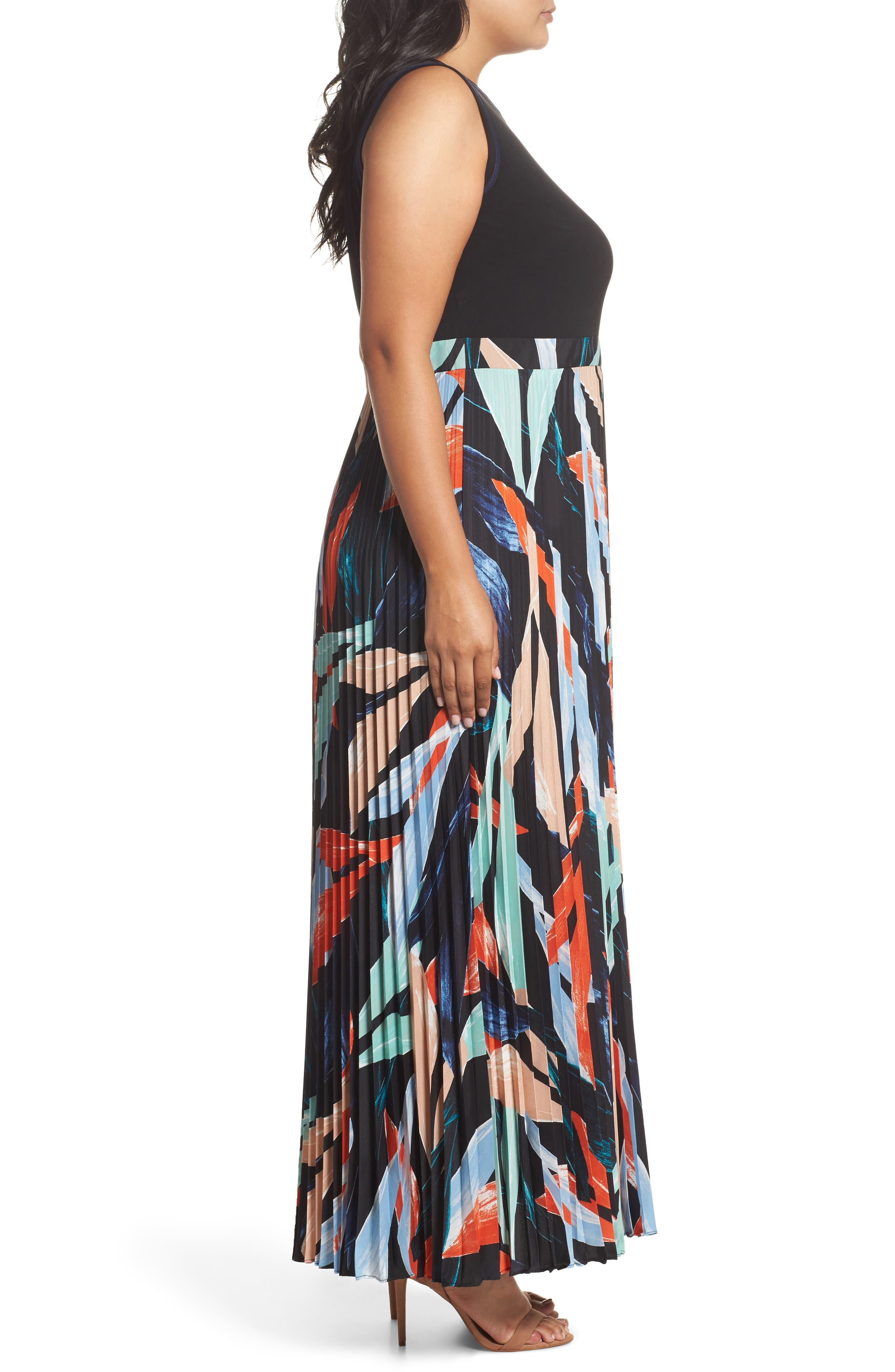 Mock Two-Piece Maxi Dress,                             Alternate thumbnail 4, color,                             Poppy Multi