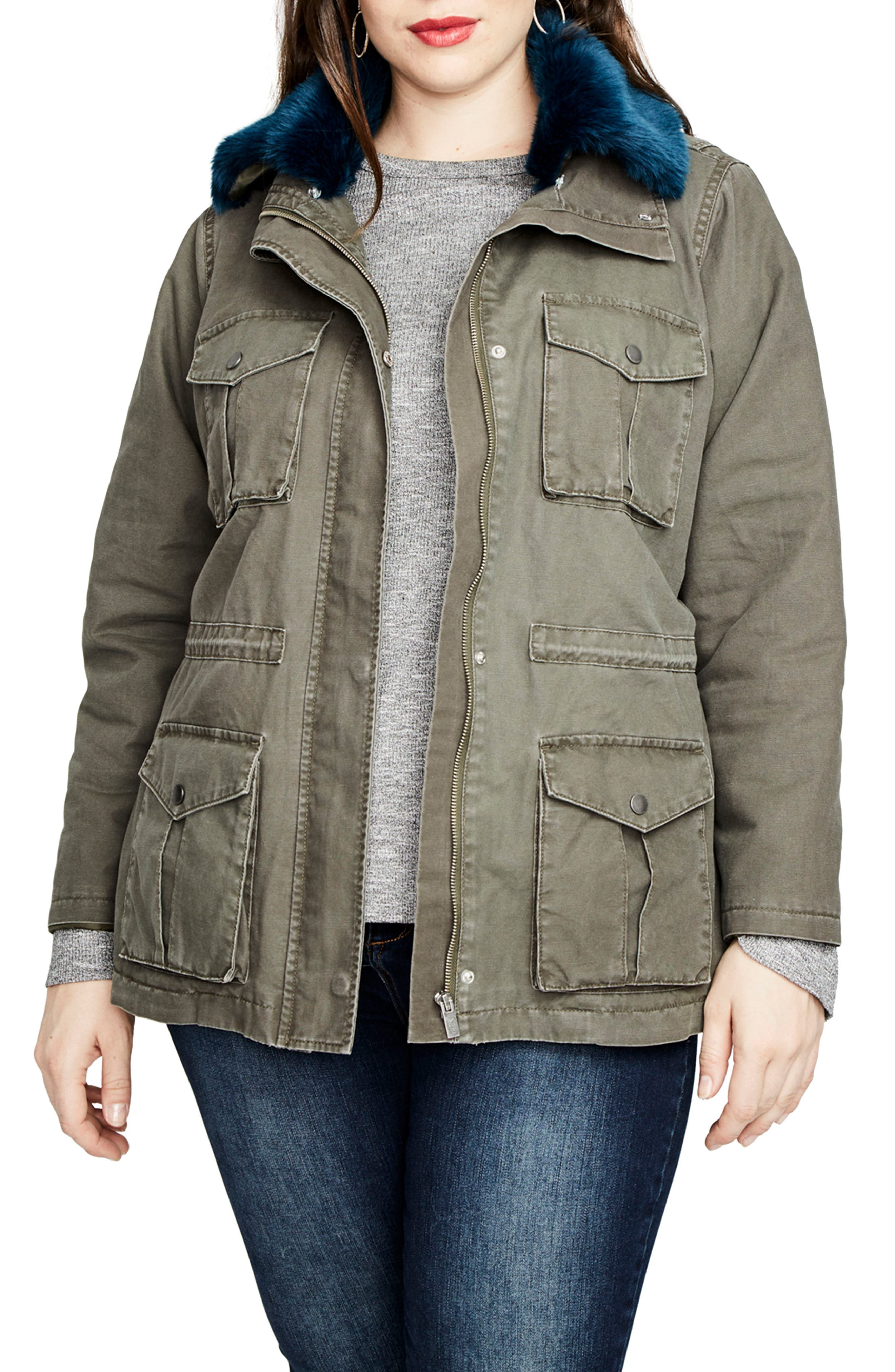 Alternate Image 1 Selected - RACHEL Rachel Roy Faux Fur Trim Parka (Plus Size)