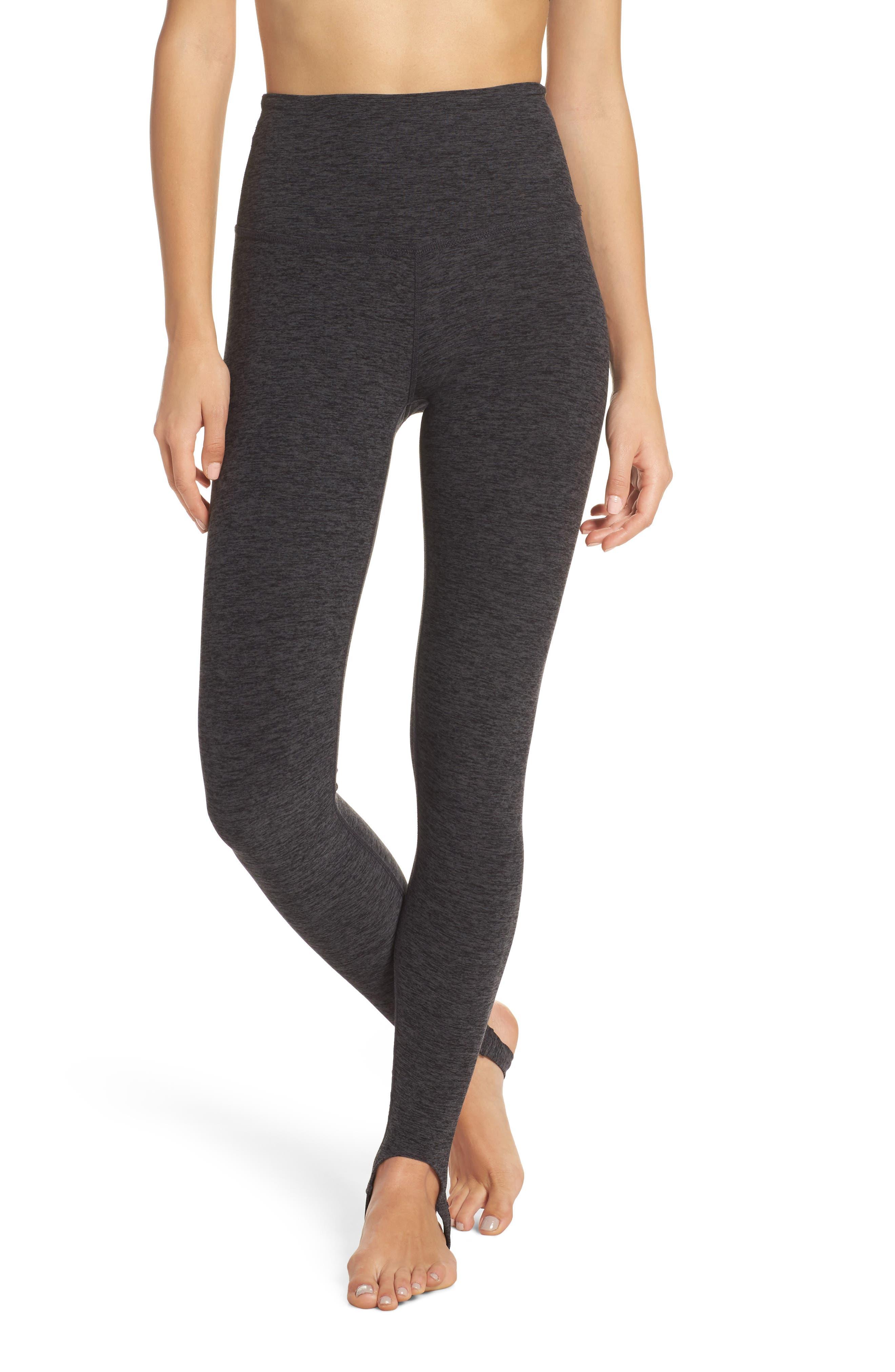 High Waist Stirrup Leggings,                         Main,                         color, Black/ Charcoal