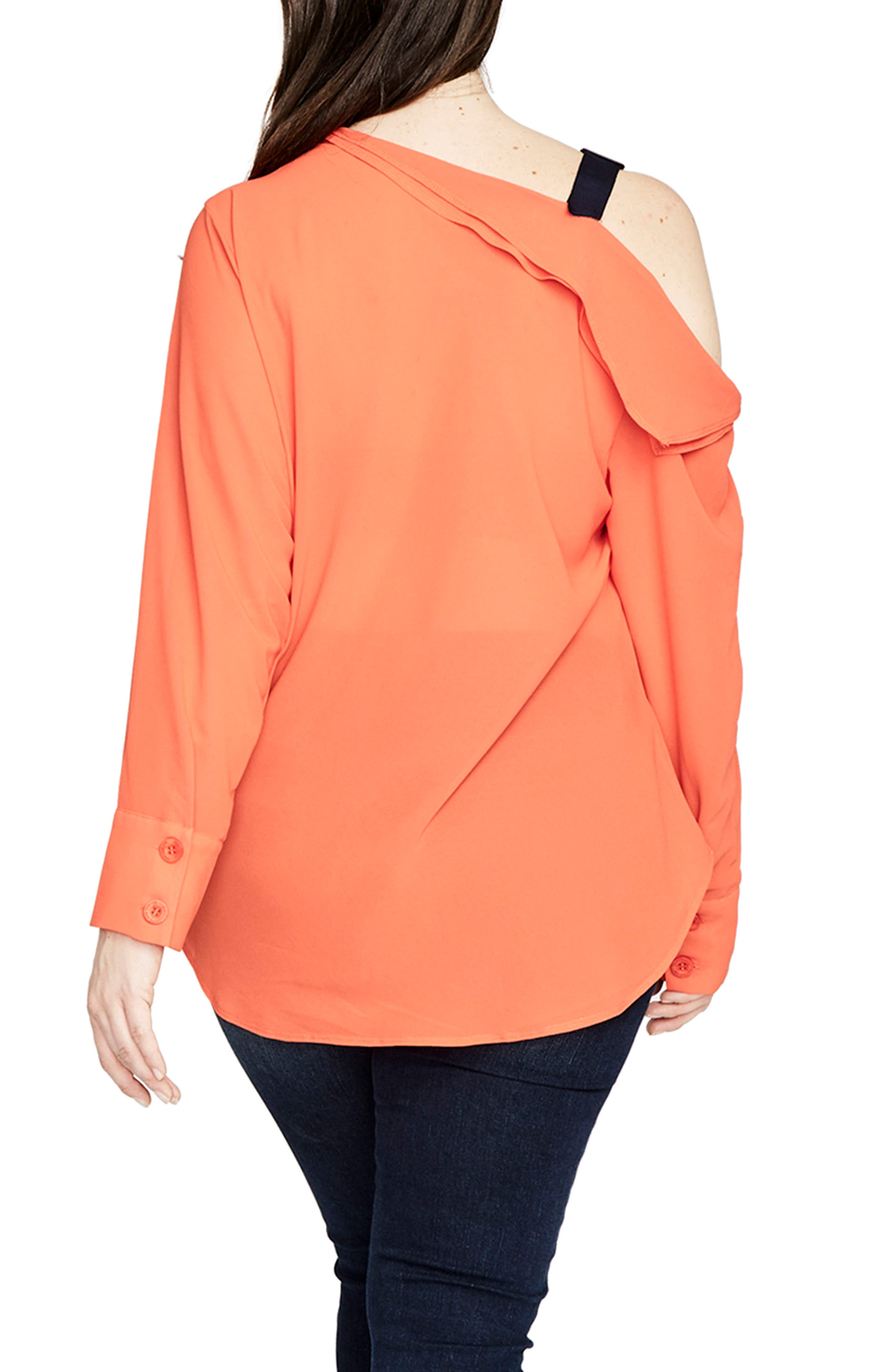 One-Shoulder Top,                             Alternate thumbnail 2, color,                             Tangerine