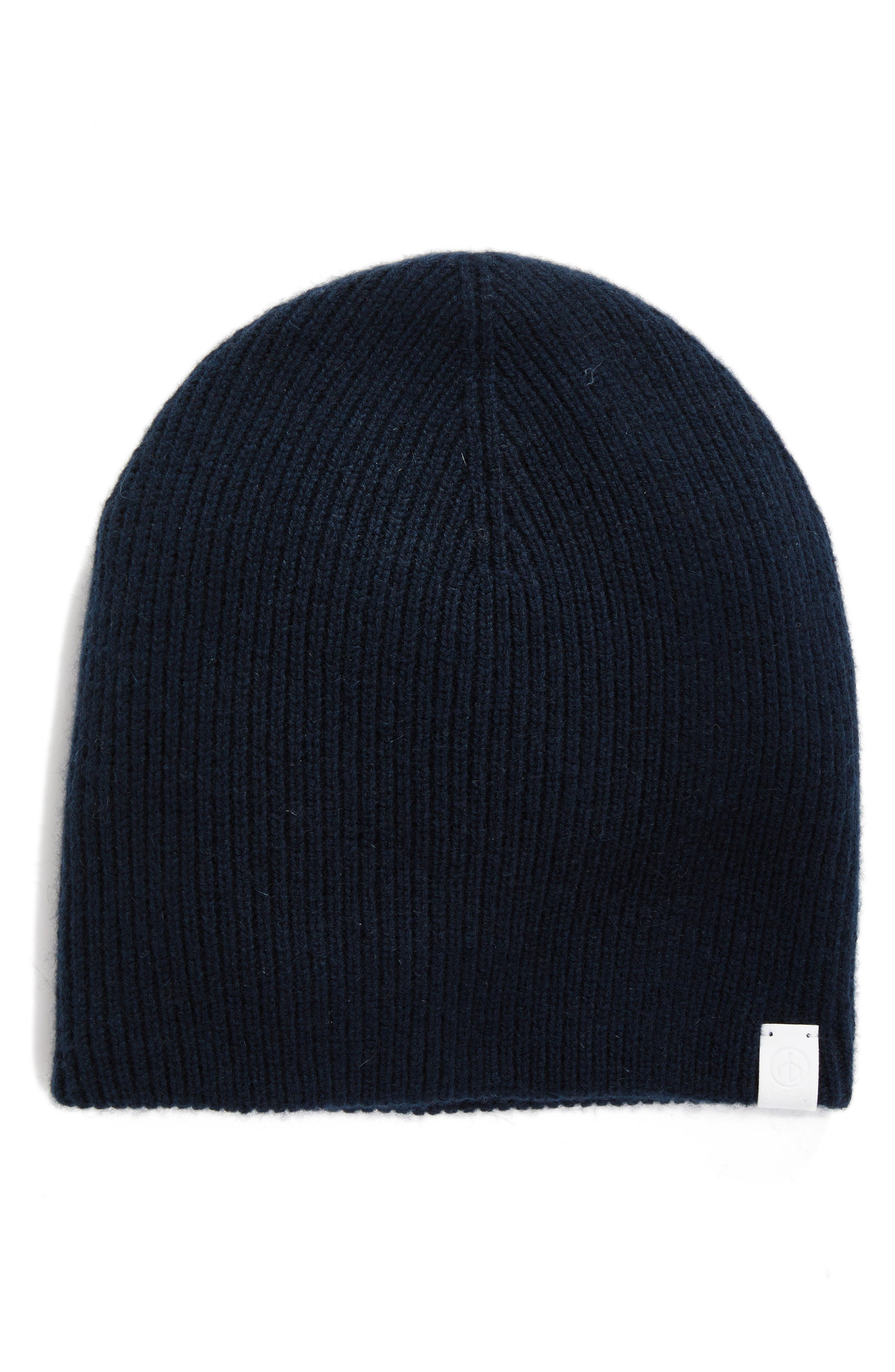 Ace Reversible Cashmere Beanie,                             Main thumbnail 1, color,                             Navy