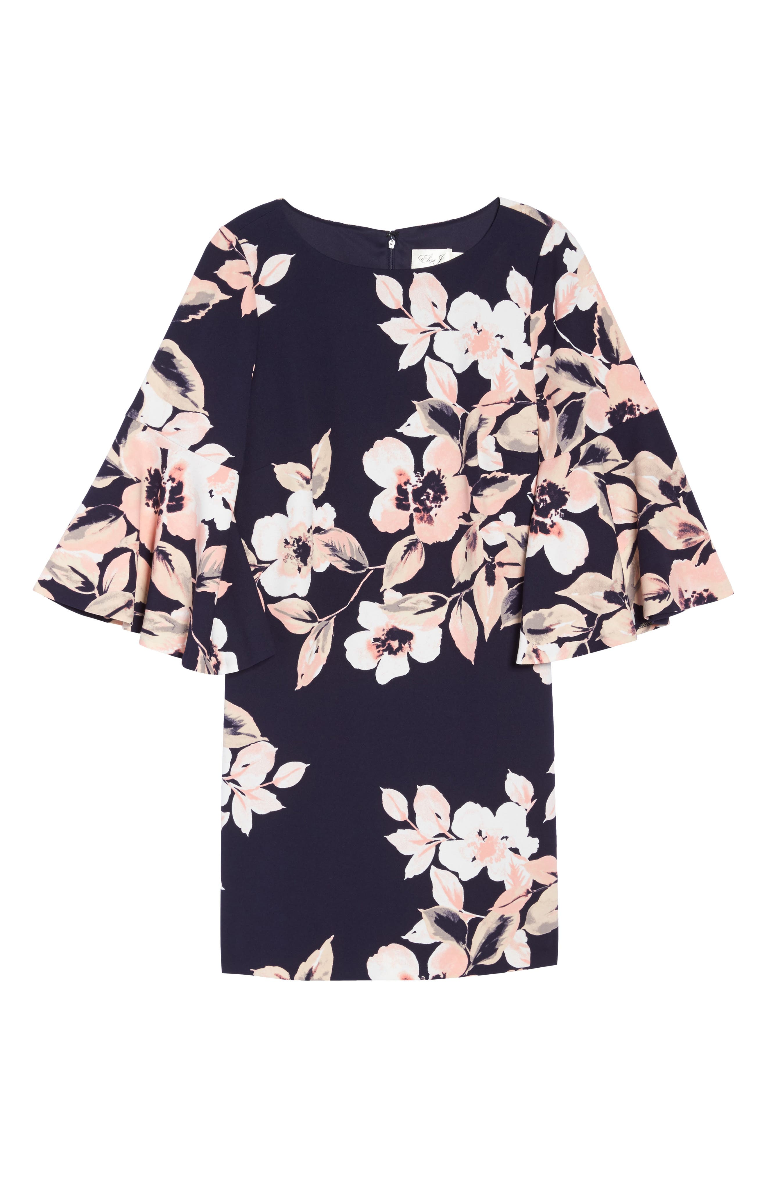 Bell Cuff Floral Shift Dress,                             Alternate thumbnail 7, color,                             Navy