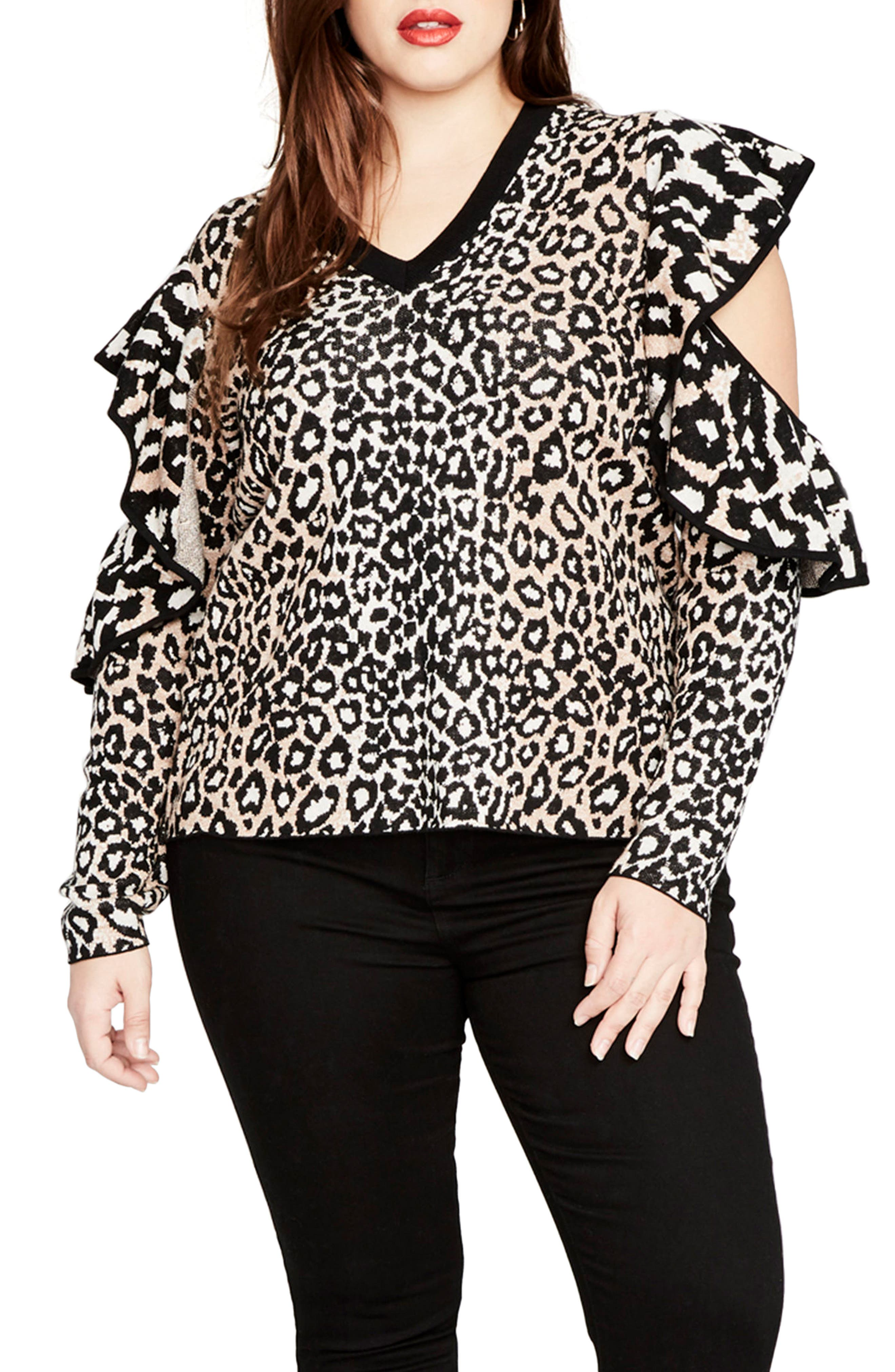 Ruffle Sleeve Leopard Sweater,                         Main,                         color, Eggshell Combo
