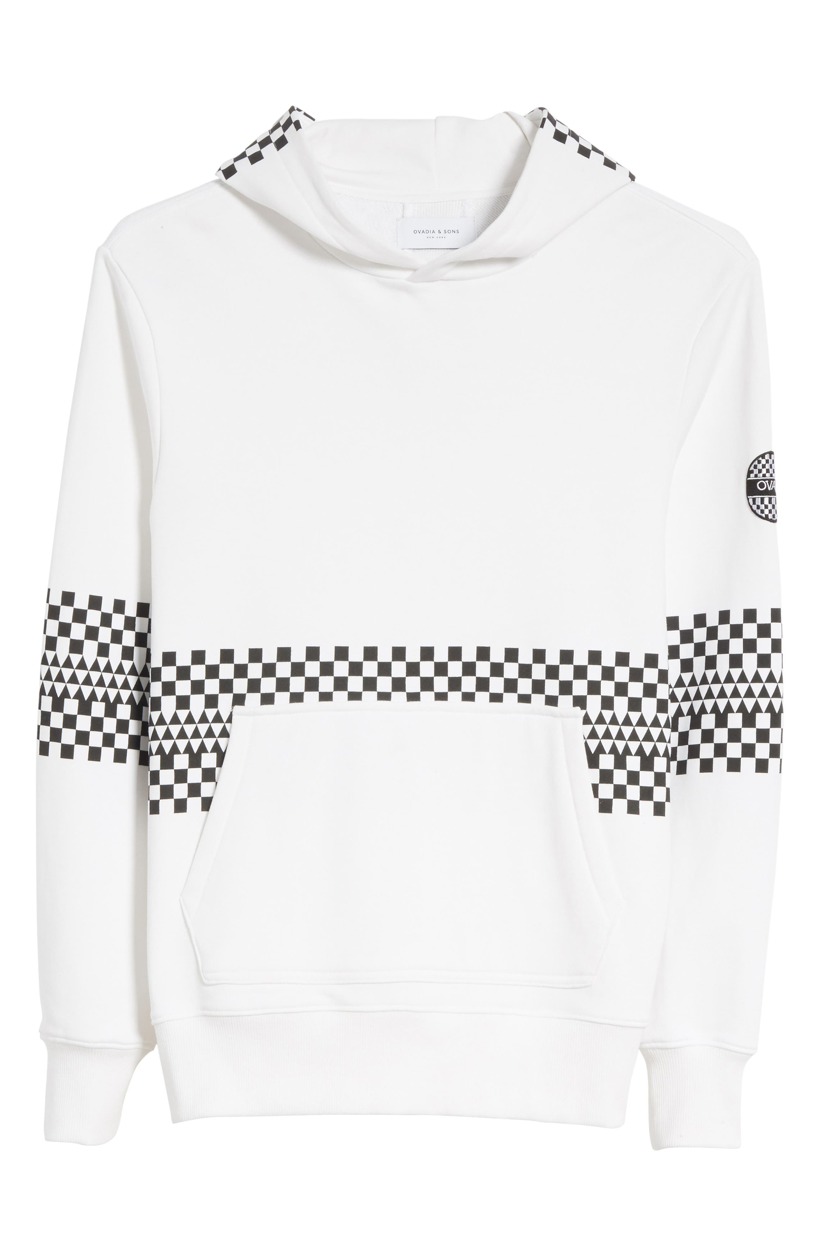 Type-01 Check Print Hoodie,                             Alternate thumbnail 6, color,                             White/ Black