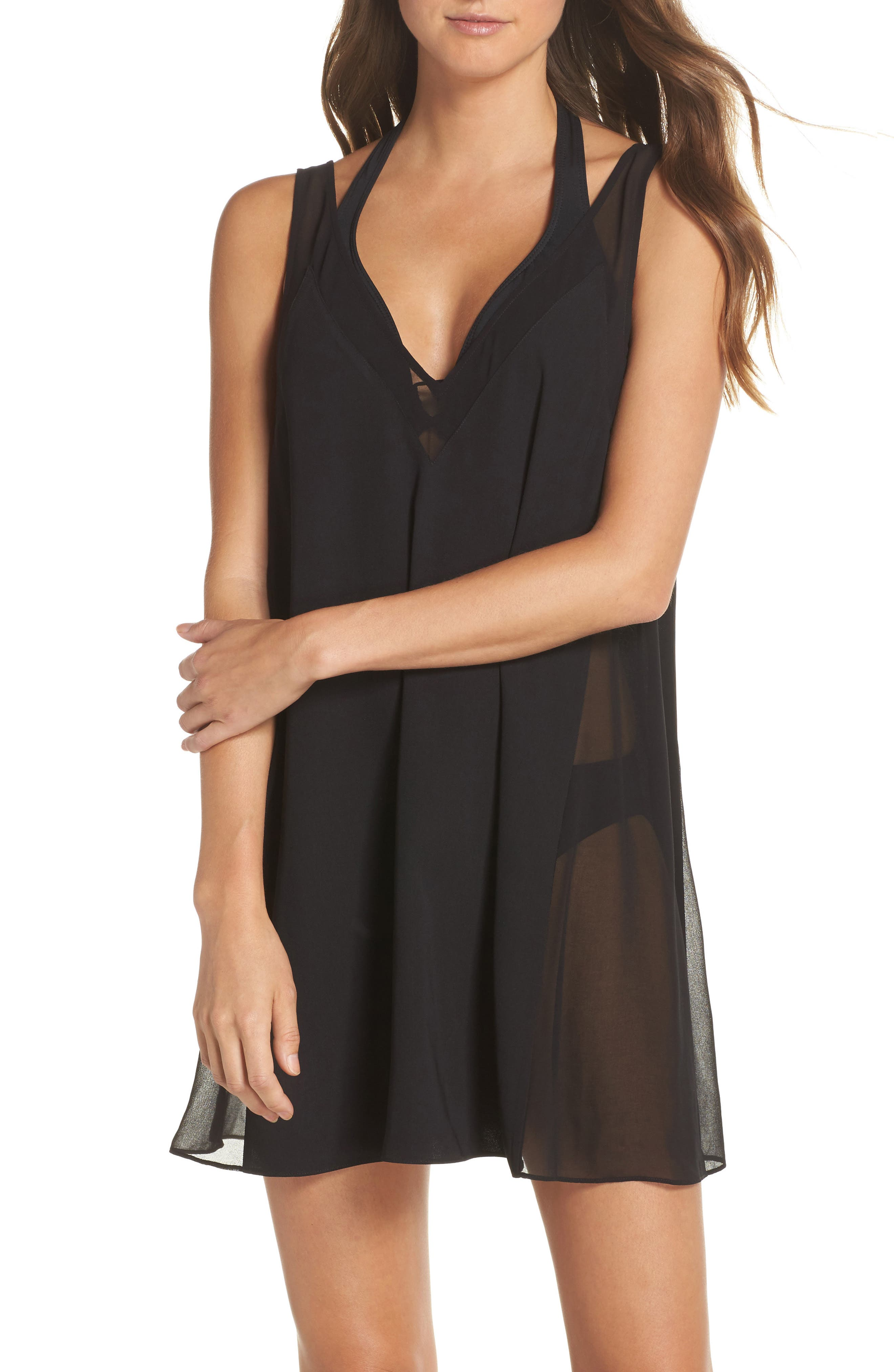 Mesh Panel Cover-Up Dress,                         Main,                         color, Black
