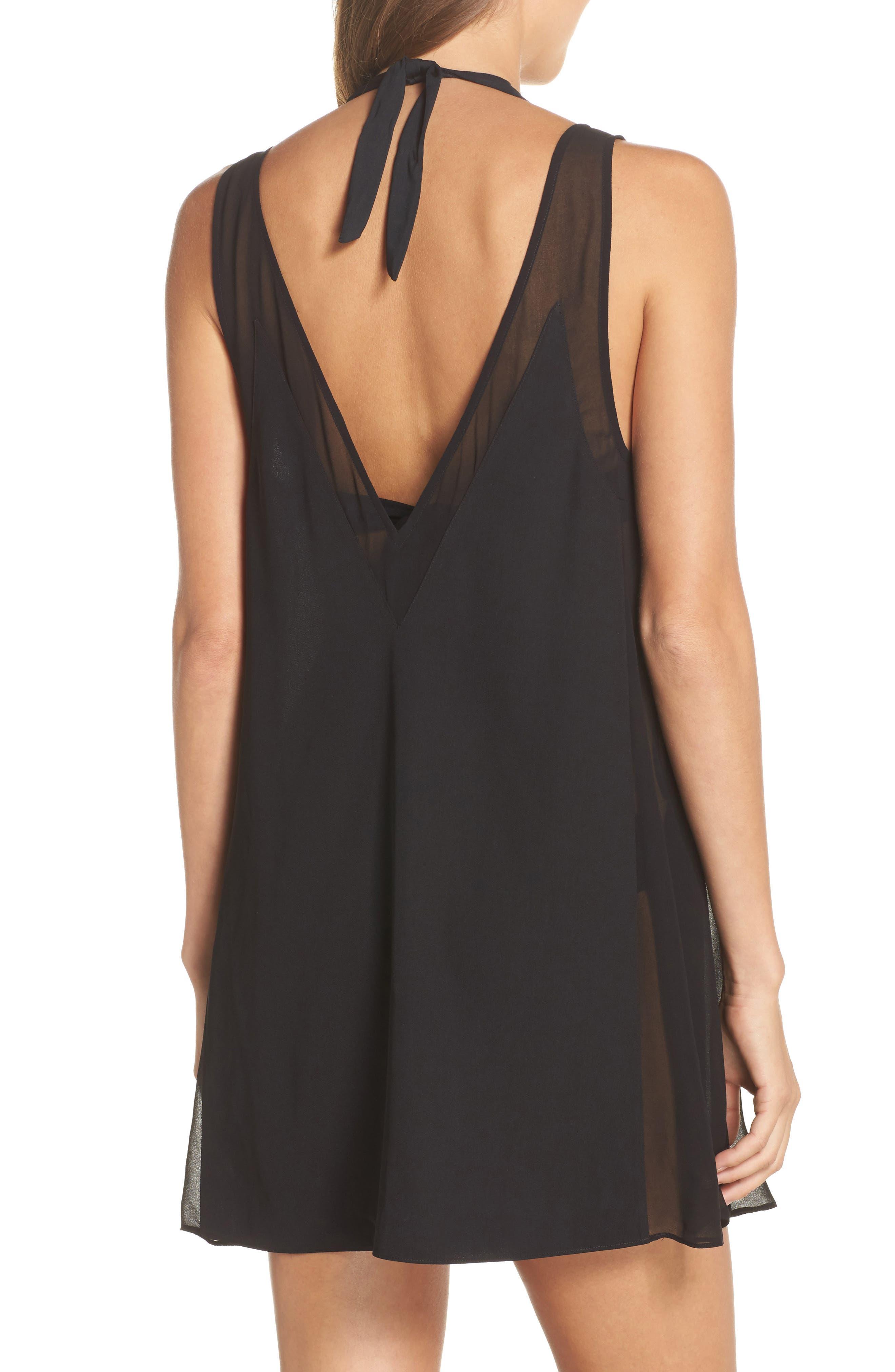 Mesh Panel Cover-Up Dress,                             Alternate thumbnail 2, color,                             Black