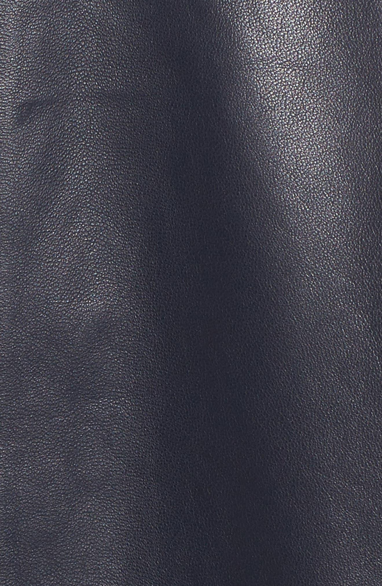 Ruffle Back Leather Jacket,                             Alternate thumbnail 5, color,                             Navy Night