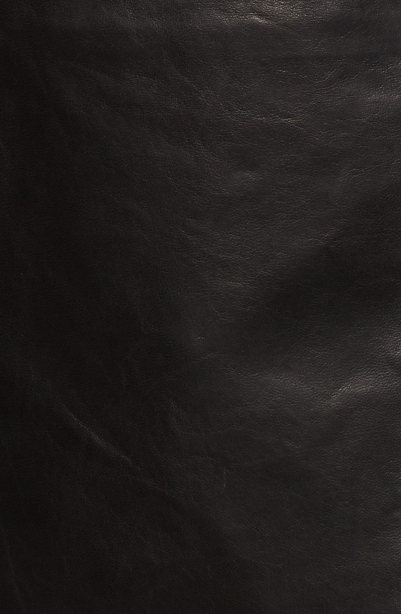 Presley Moto Leather Jacket,                             Alternate thumbnail 5, color,                             Black