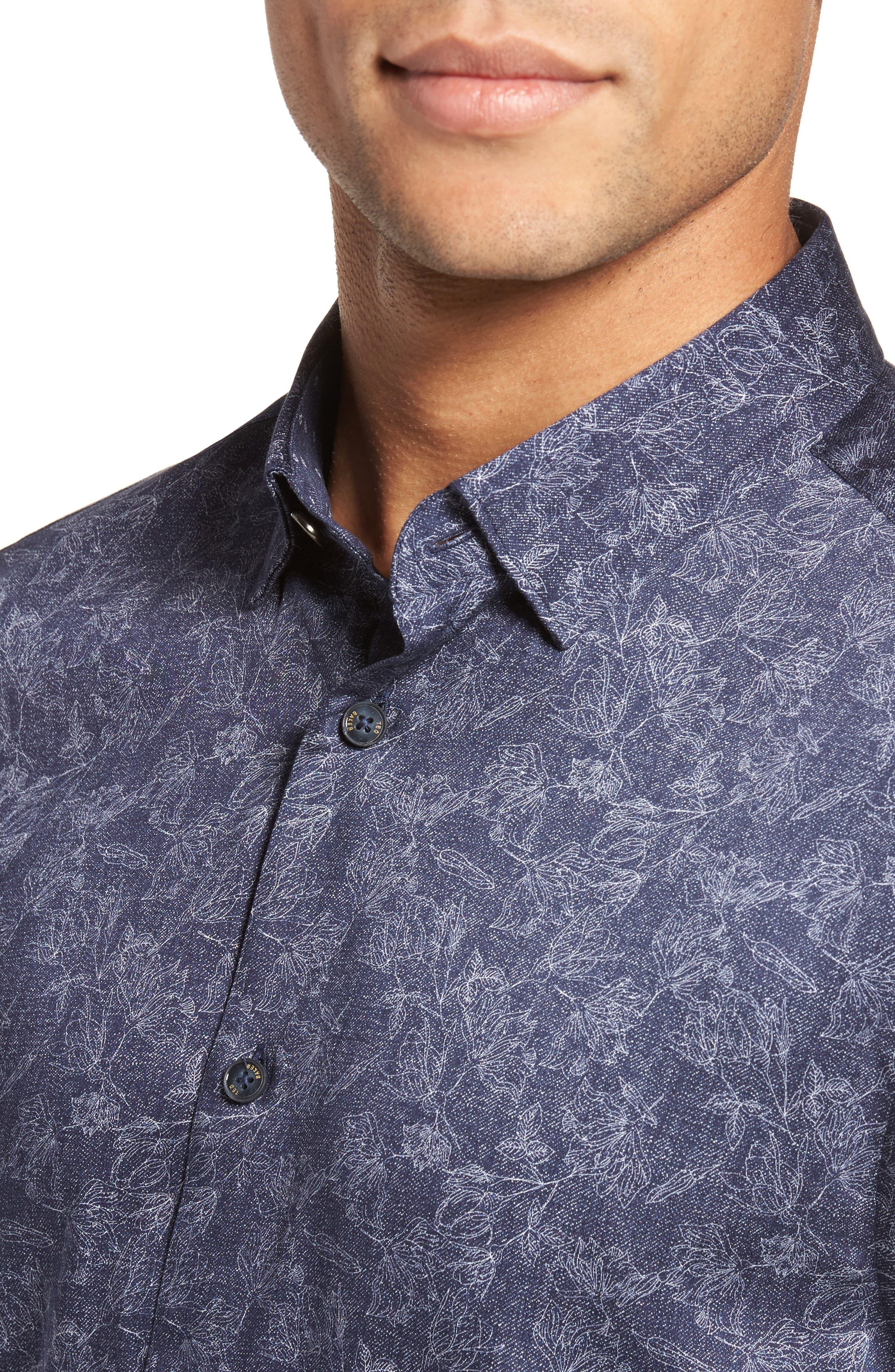 Marais Geo Print Sport Shirt,                             Alternate thumbnail 4, color,                             Blue