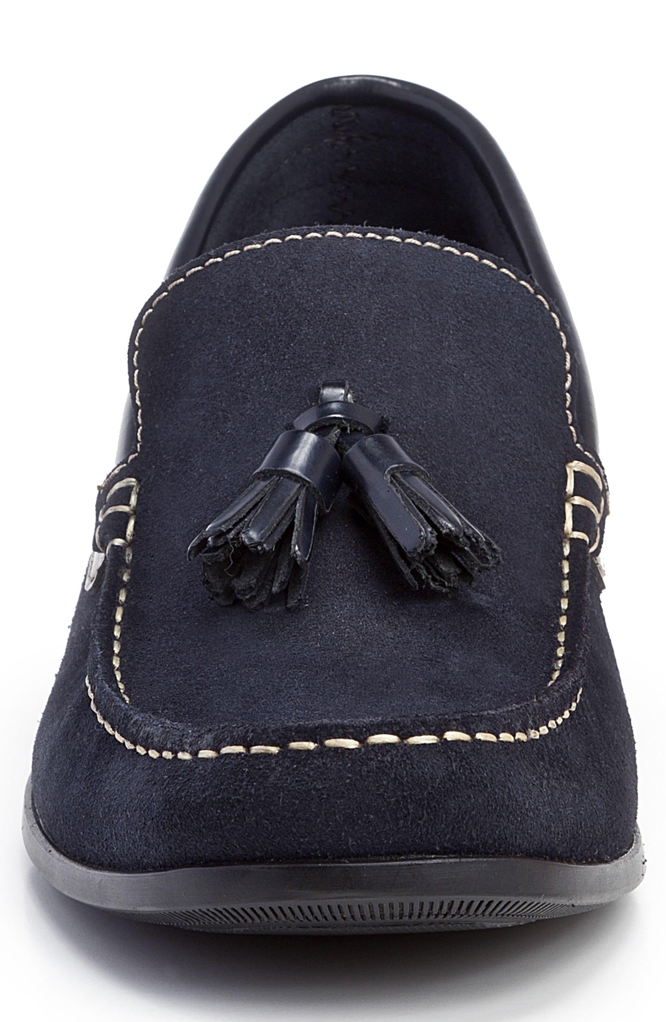 Hojas Tassel Loafer,                             Alternate thumbnail 4, color,                             Navy Leather