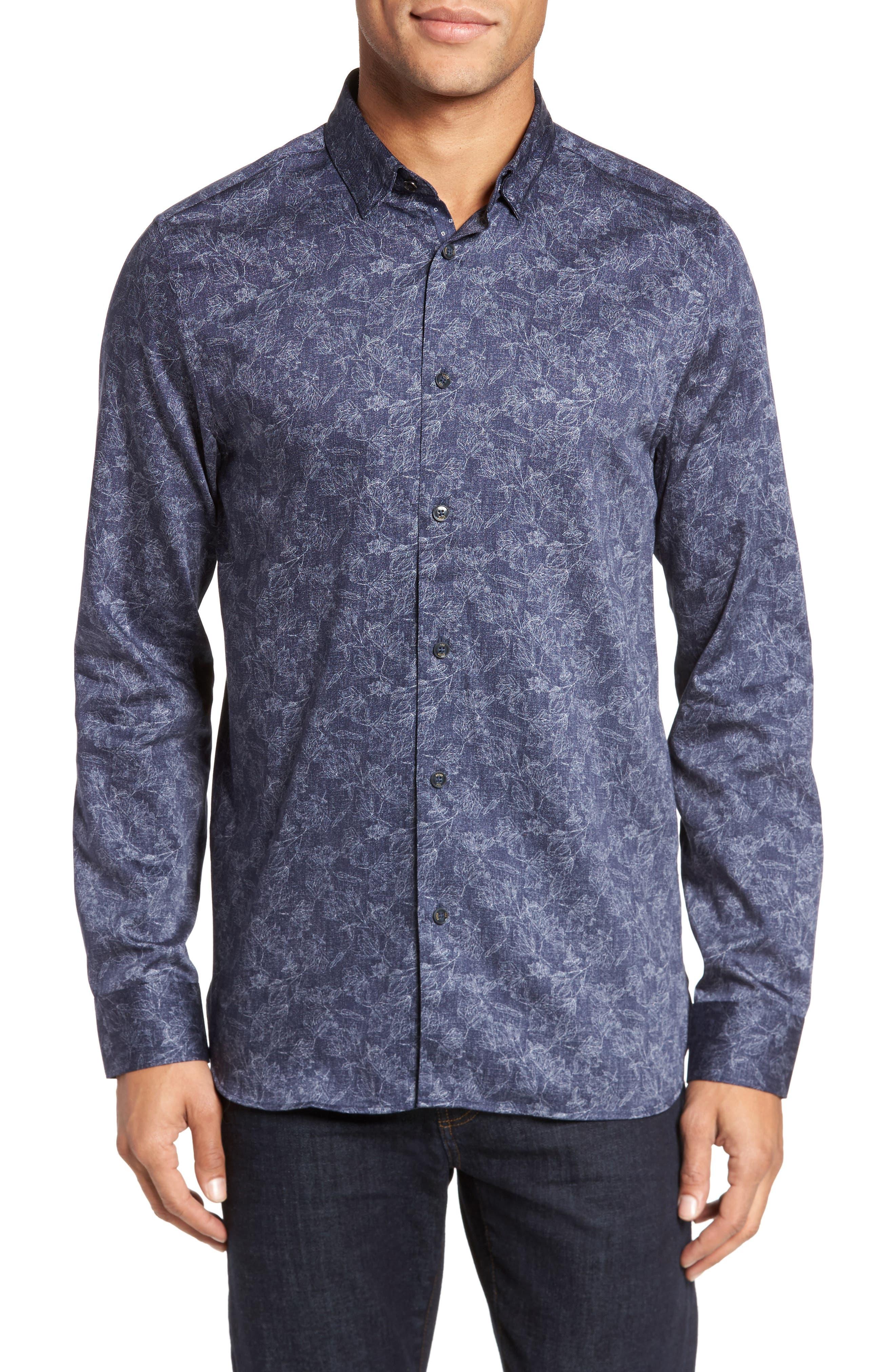 Marais Geo Print Sport Shirt,                         Main,                         color, Blue