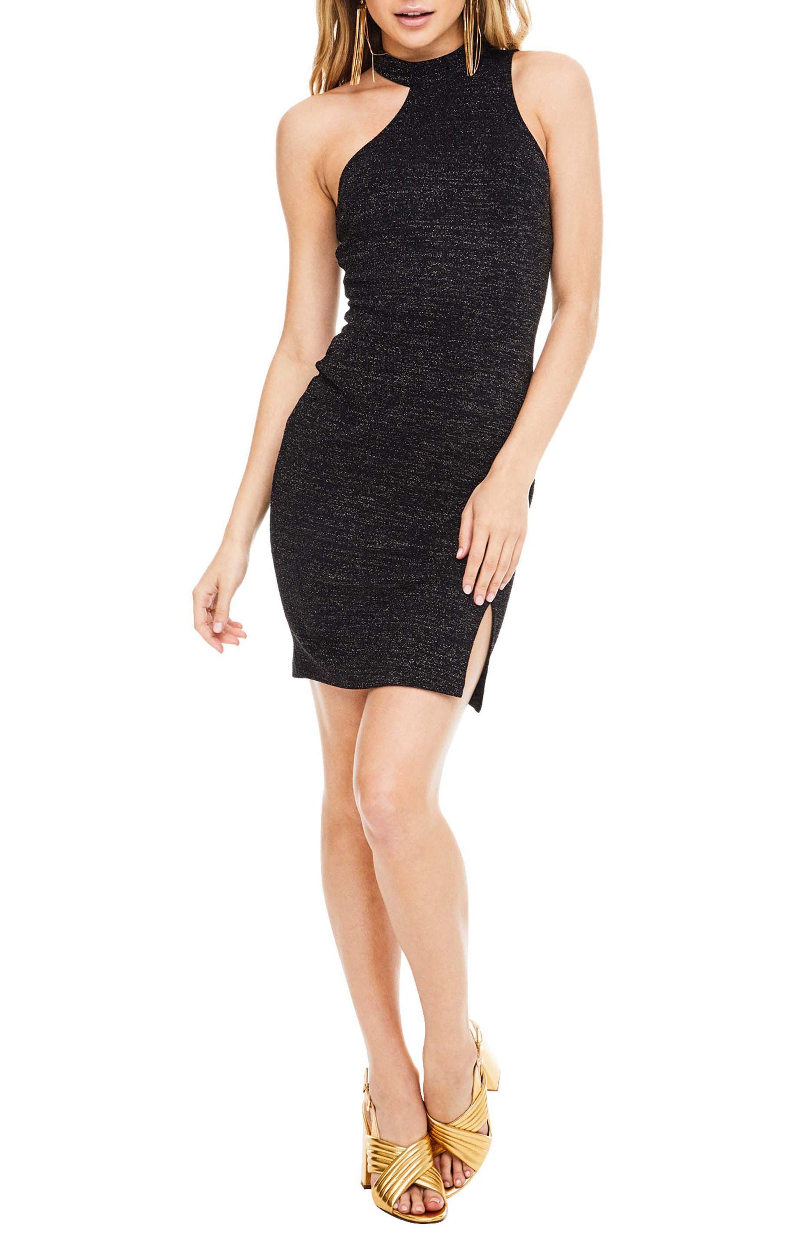 Danika Body-Con Dress,                         Main,                         color, Black Sparkle