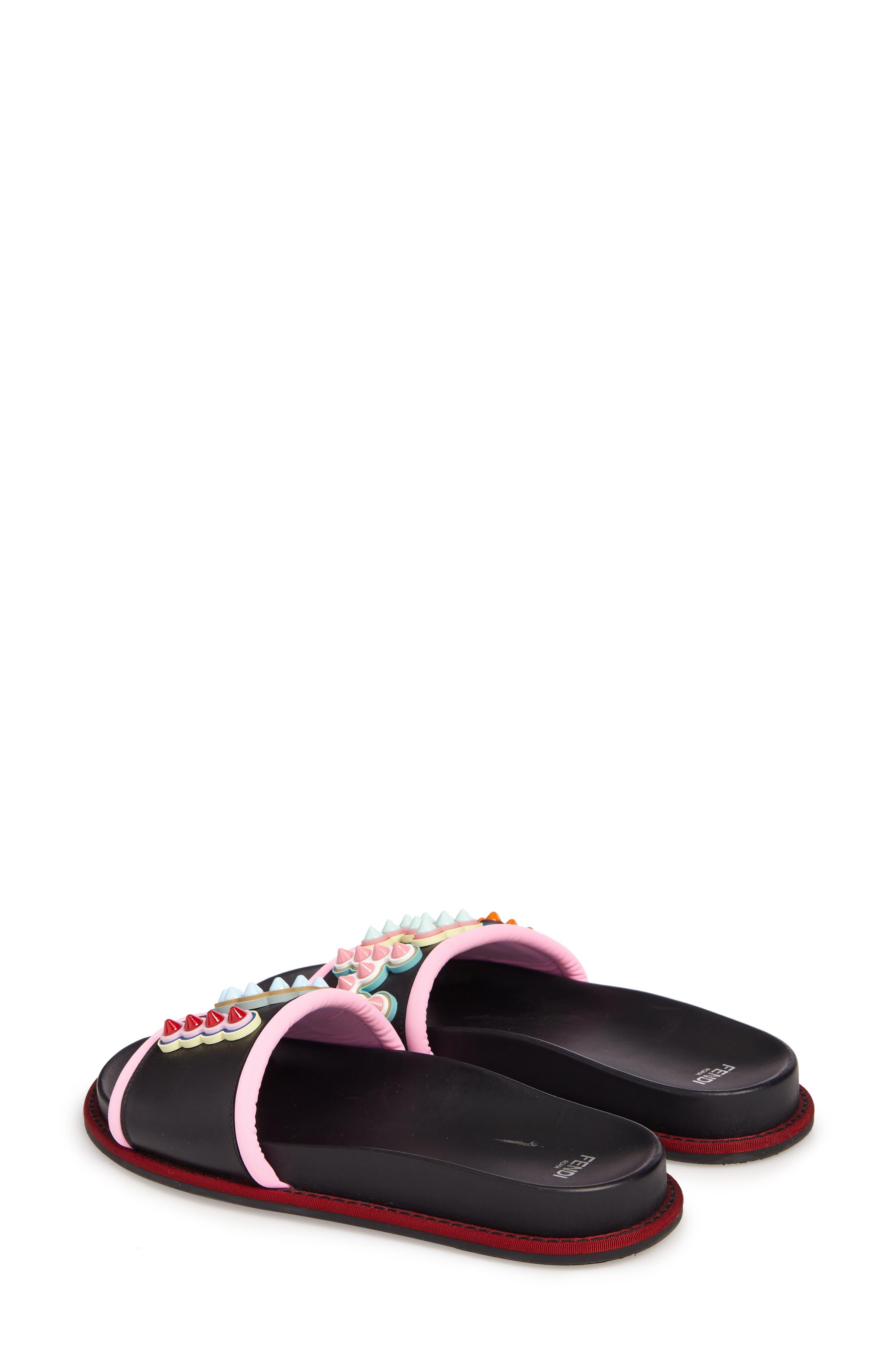 Studded Logo Slide Sandal,                             Alternate thumbnail 2, color,                             Black