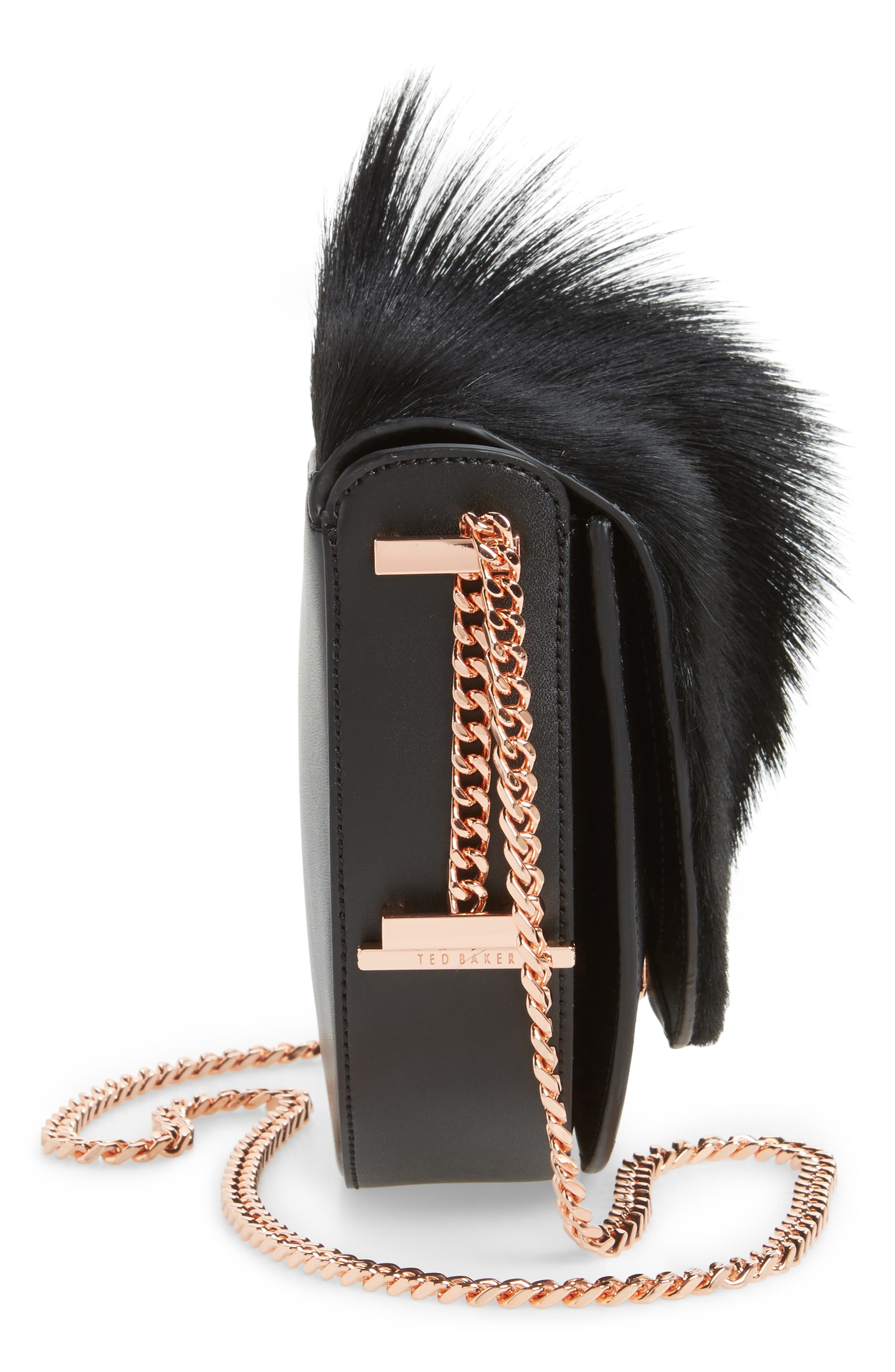 Alisonn Leather & Genuine Springbok Fur Saddle Bag,                             Alternate thumbnail 4, color,                             Black