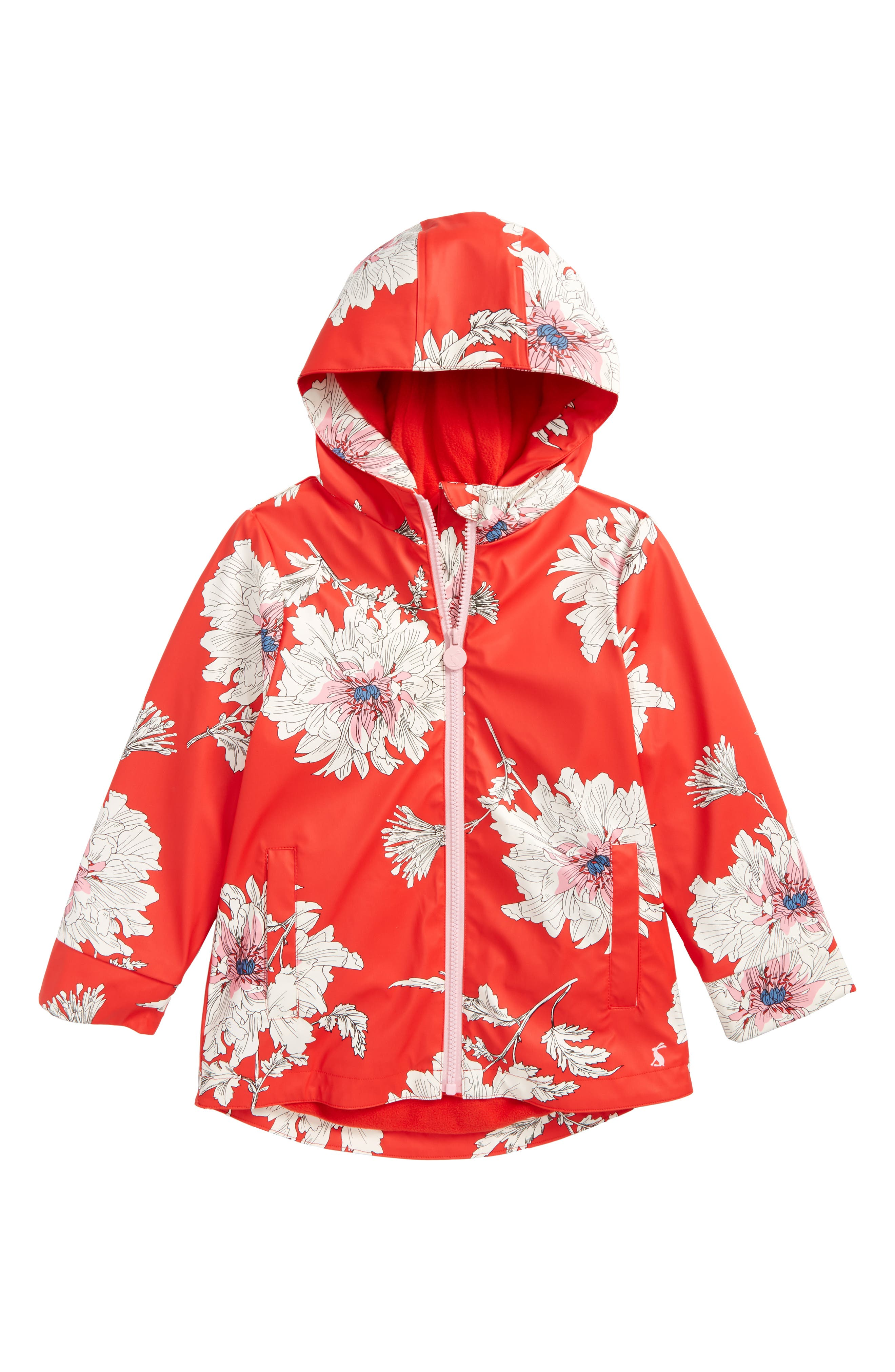 Fleece Lined Rain Jacket,                         Main,                         color, Red Peony Floral