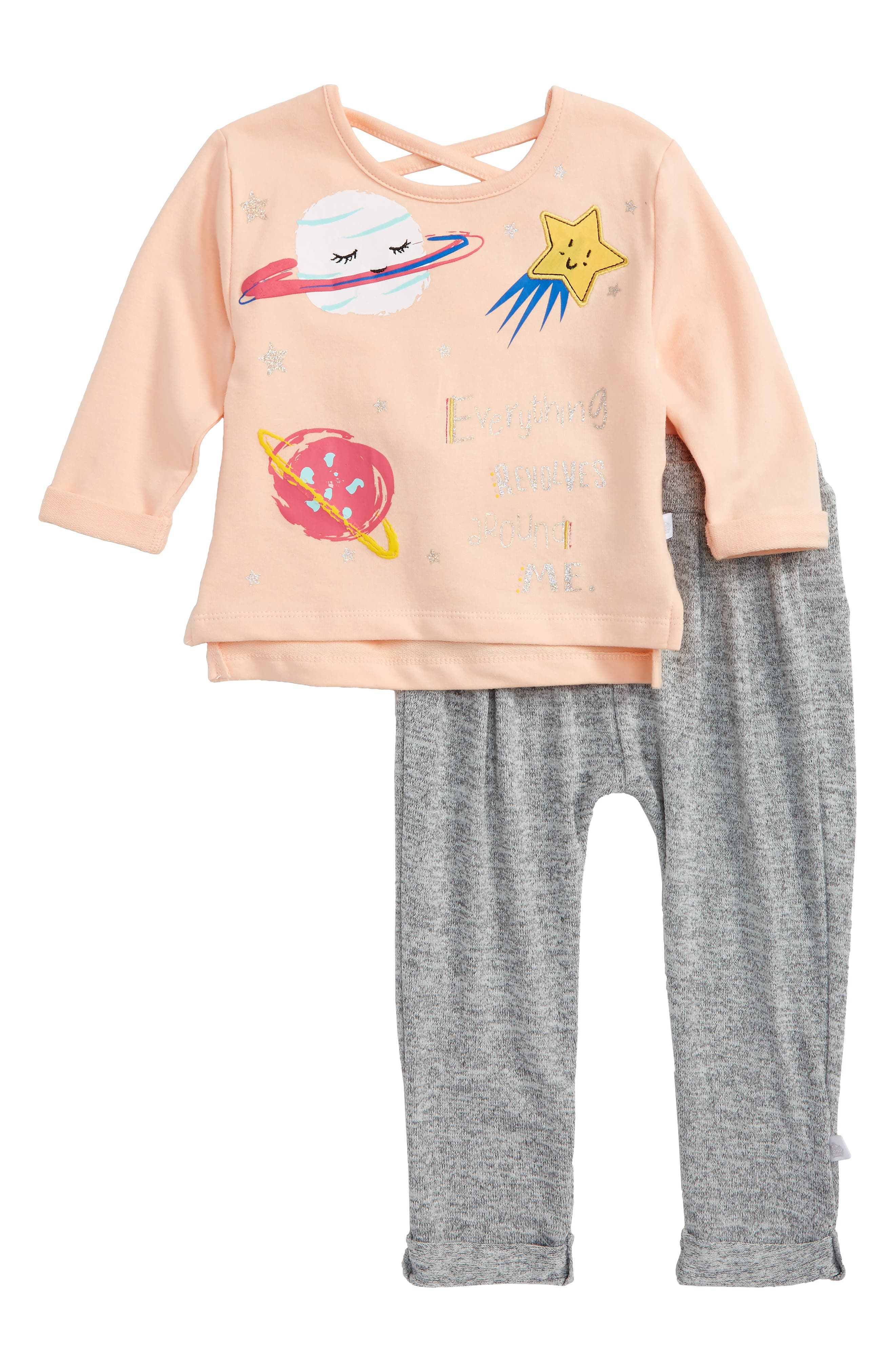 Rosie Pope Everything Revolves Around Me Graphic Top & Pants Set (Baby Girls)