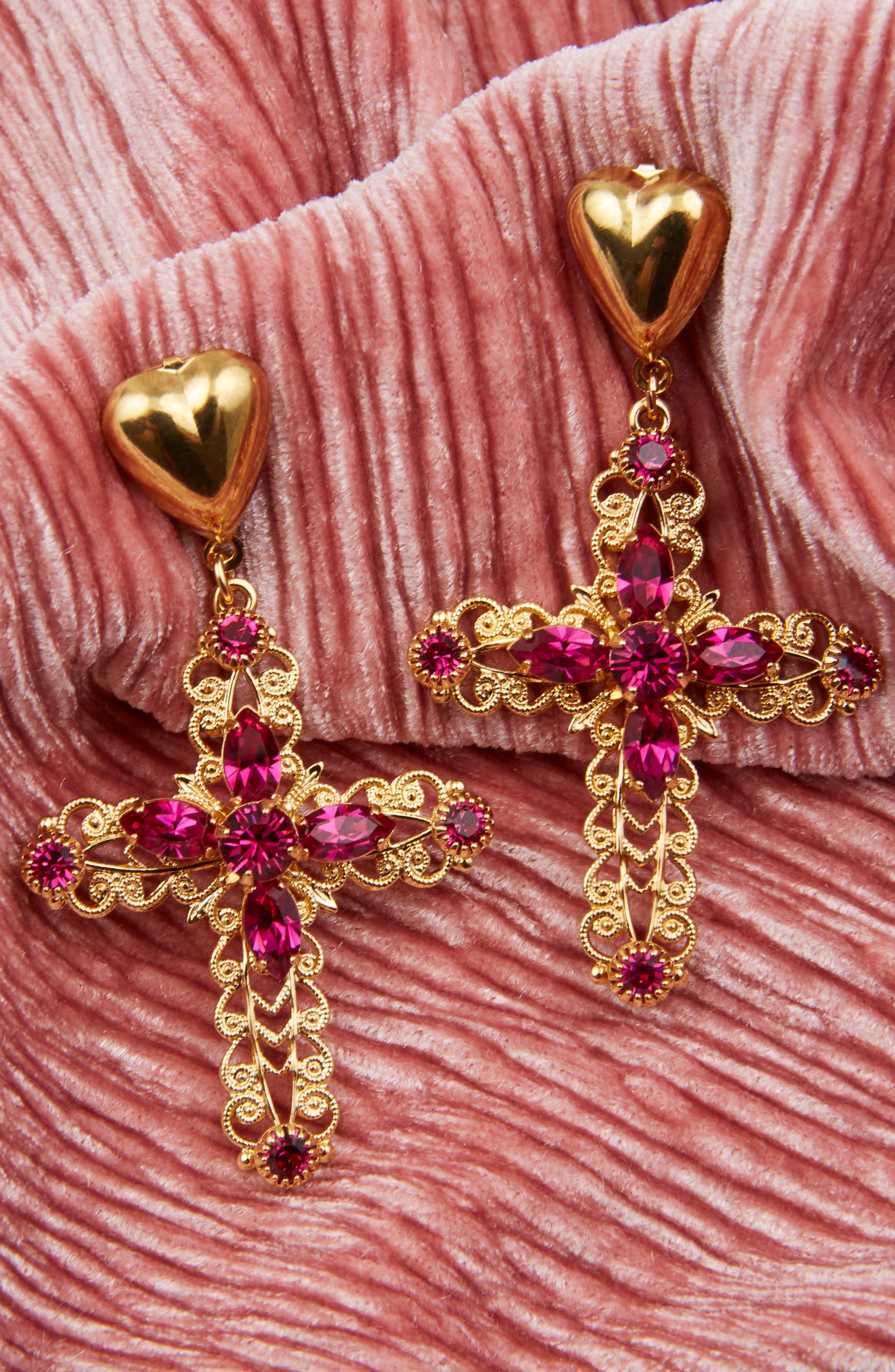 Crystal Cross Drop Earrings,                             Alternate thumbnail 3, color,                             Gold/ Purple