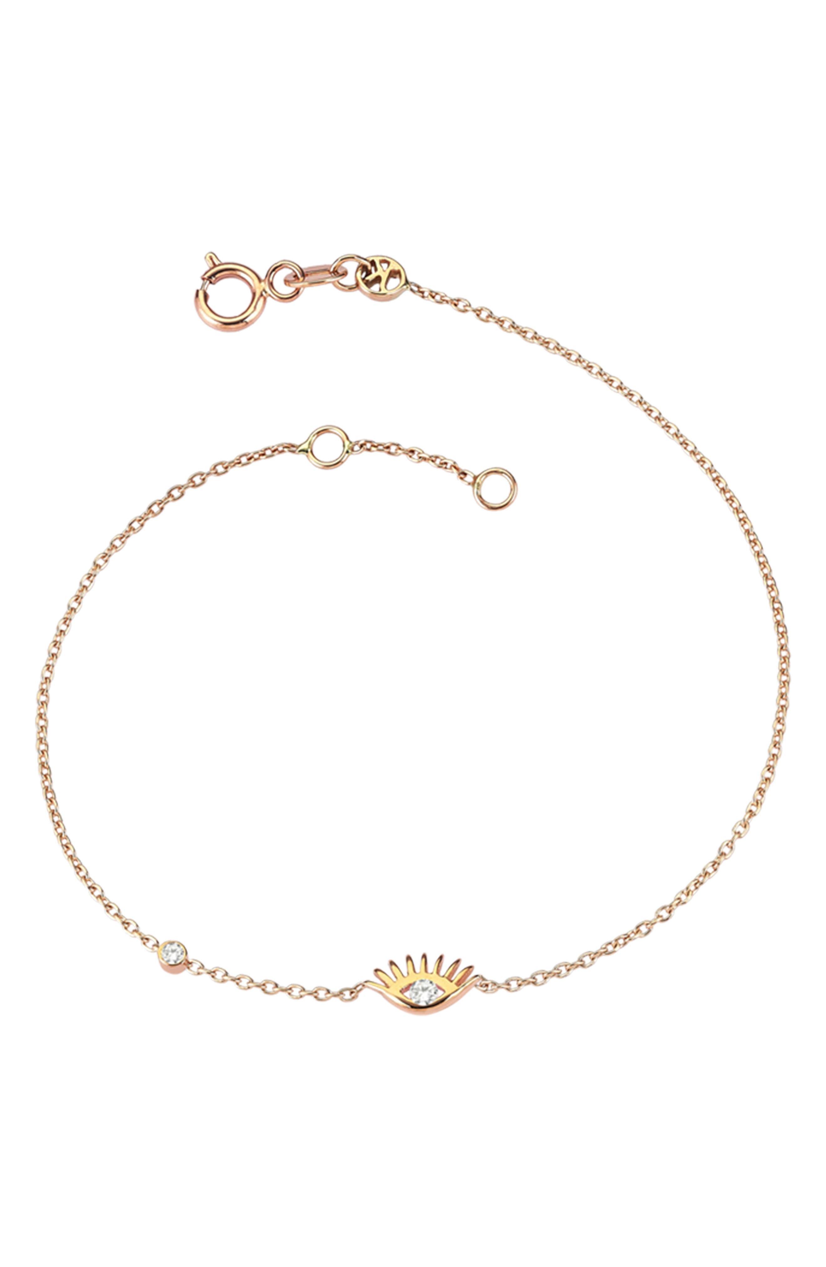 Amulet Diamond Bracelet,                         Main,                         color, Rose Gold