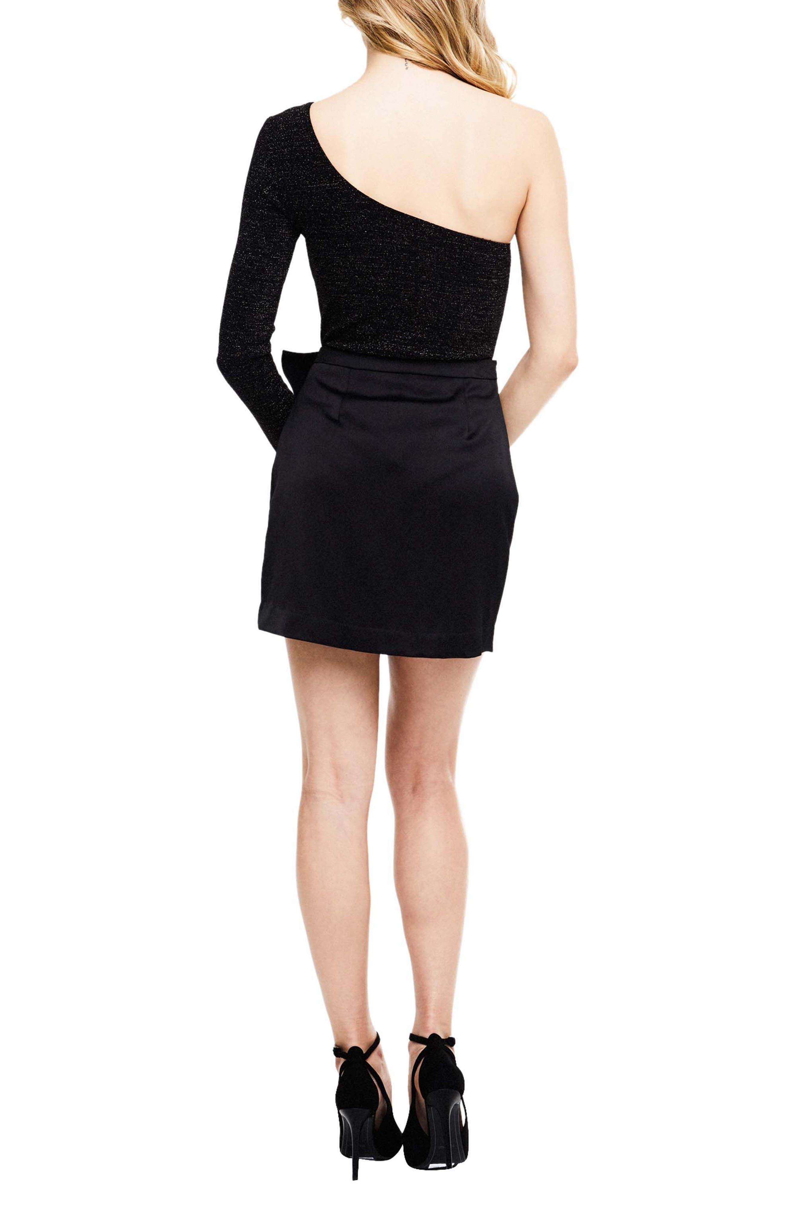 Isa Satin Skirt,                             Alternate thumbnail 2, color,                             Black
