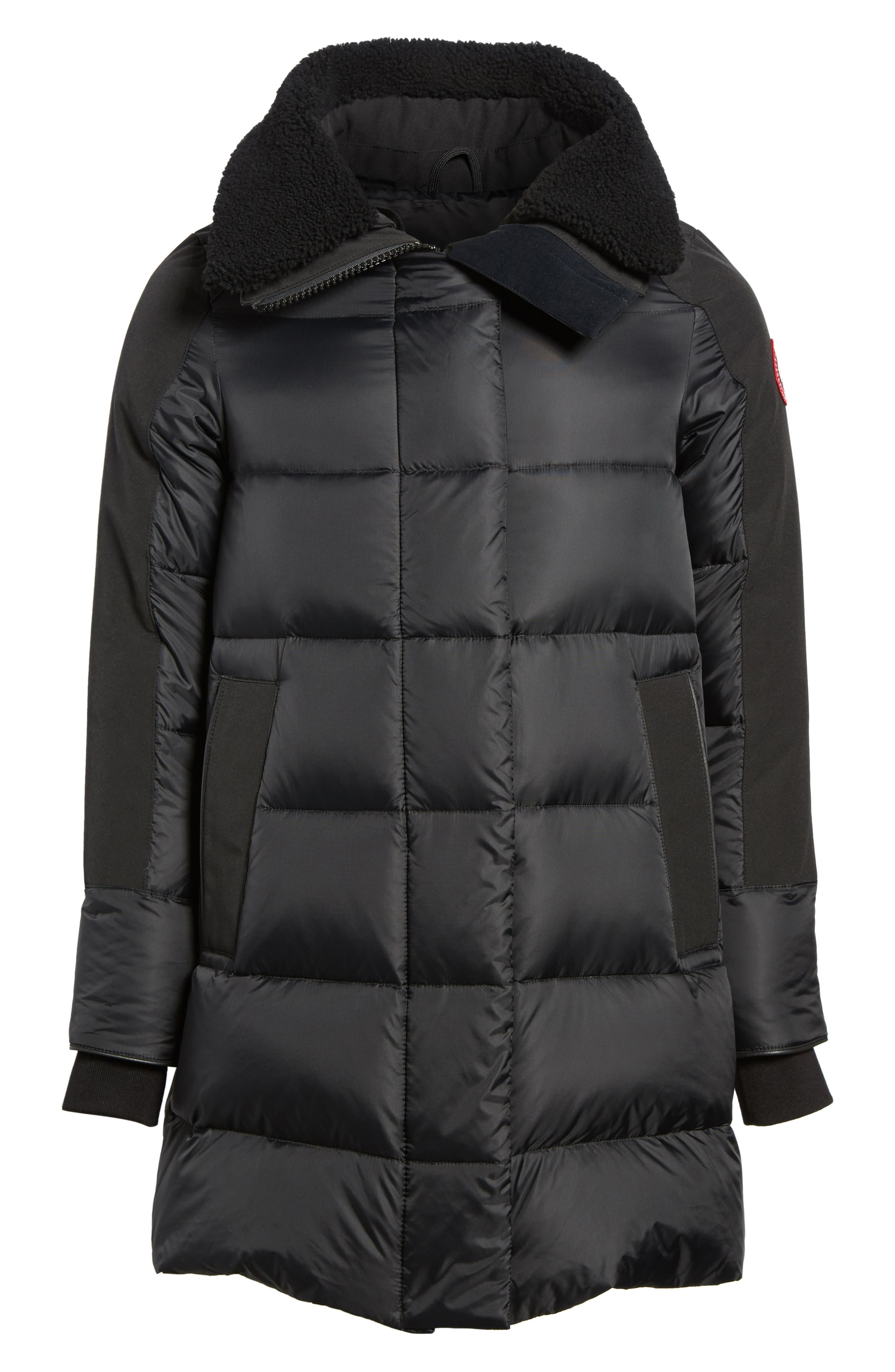Altona Water Resistant 750-Fill Power Down Parka with Genuine Shearling Collar,                             Alternate thumbnail 6, color,                             Black