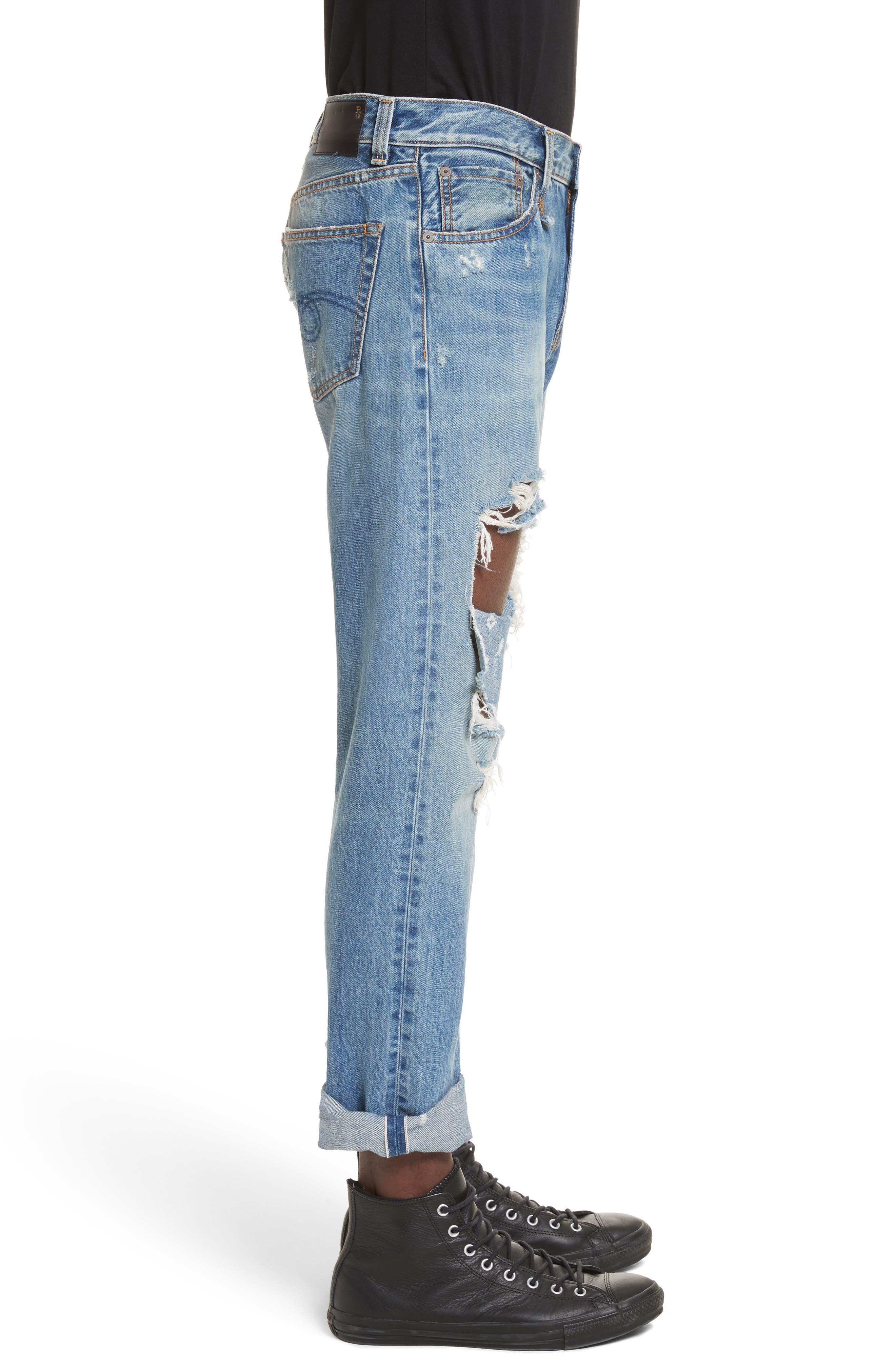 Sid Distressed Cutoff Straight Leg Jeans,                             Alternate thumbnail 3, color,                             Jasper Selvege W Rips