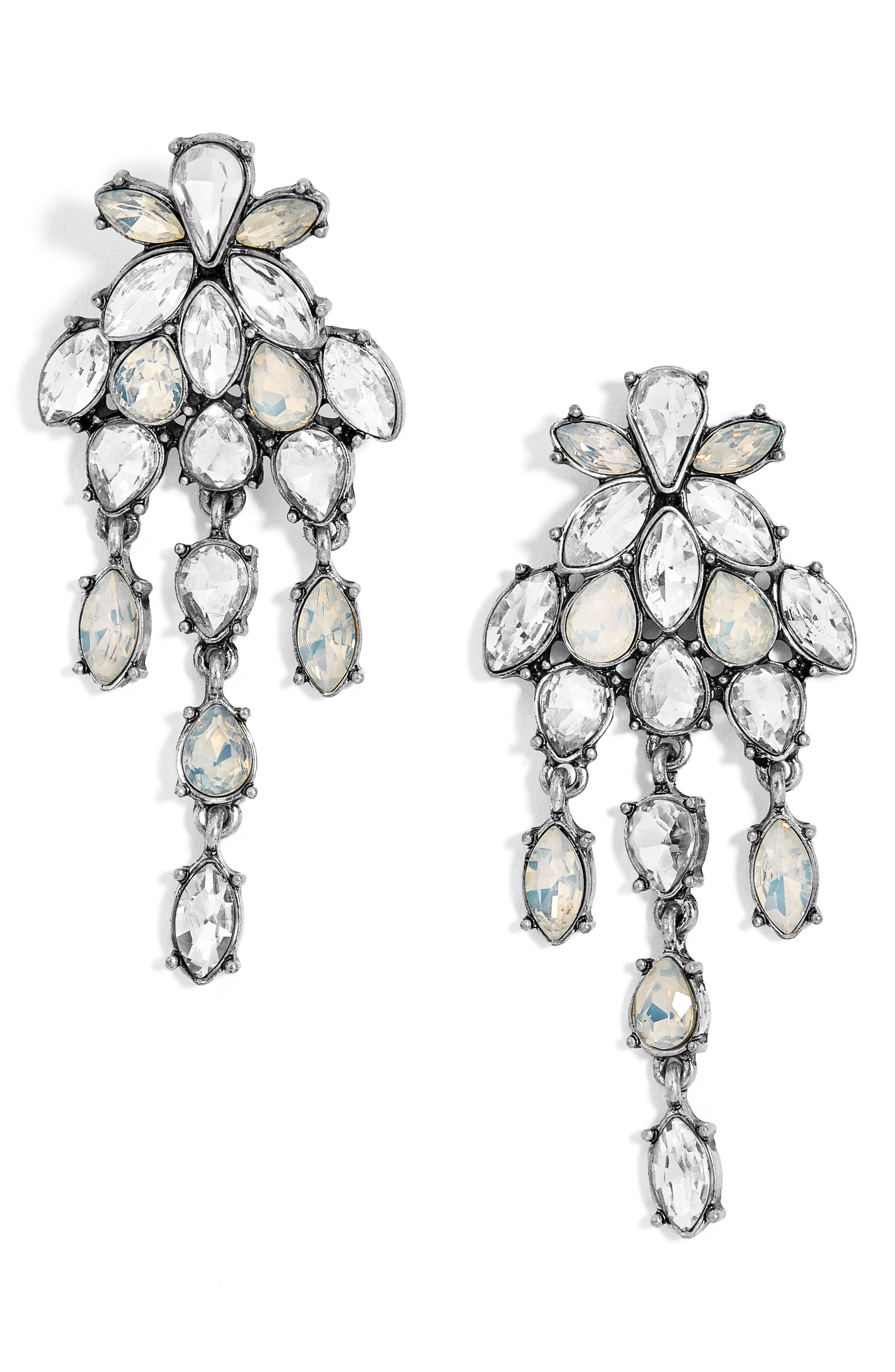 Chandelier Crystal Drop Earrings,                             Main thumbnail 1, color,                             Silver