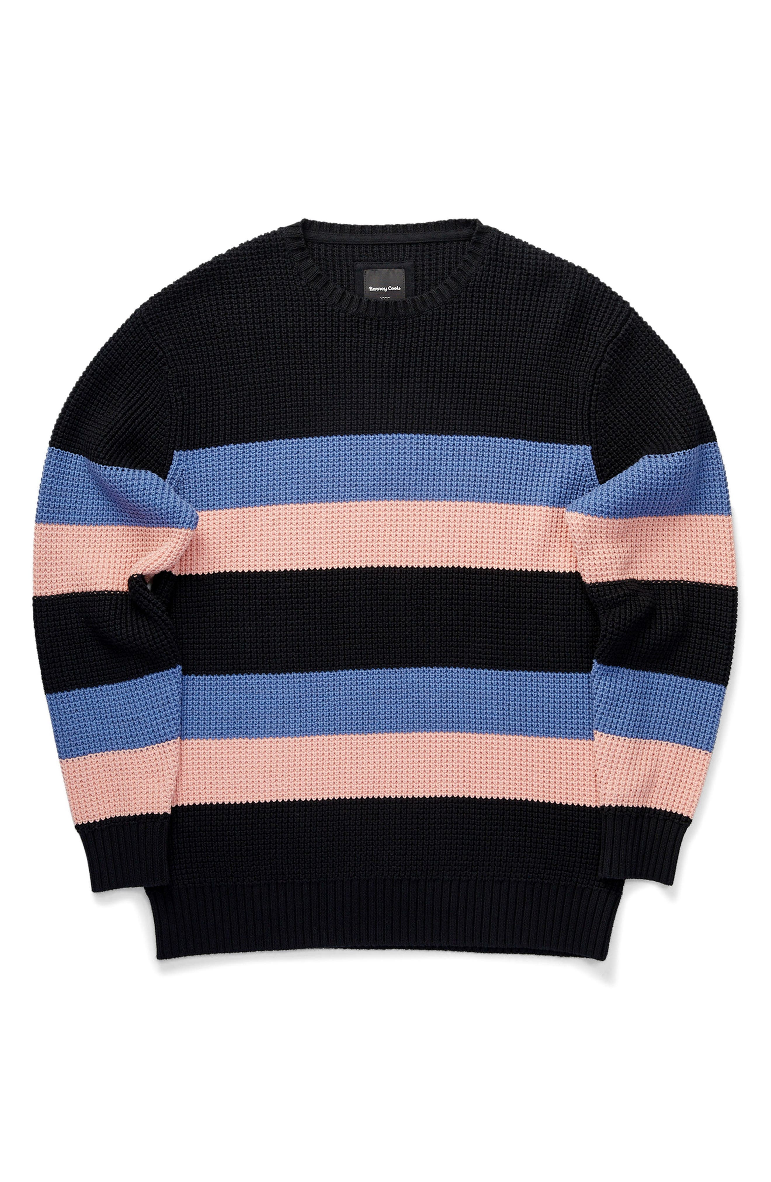 Rugby Stripe Sweater,                             Alternate thumbnail 6, color,                             Black/ Pink
