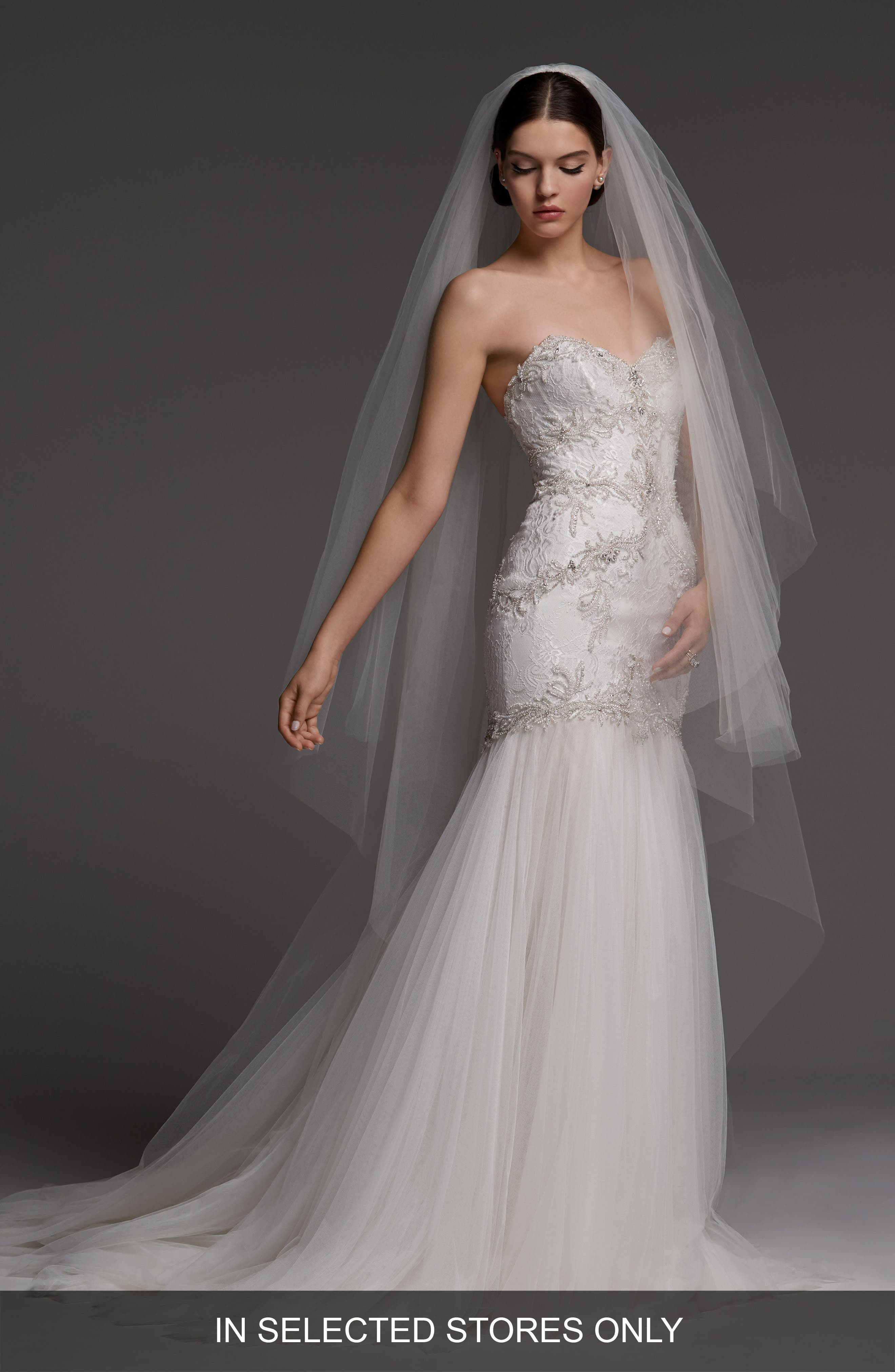 Monaco Lace Mermaid Gown,                         Main,                         color, Ivory/ Oyster
