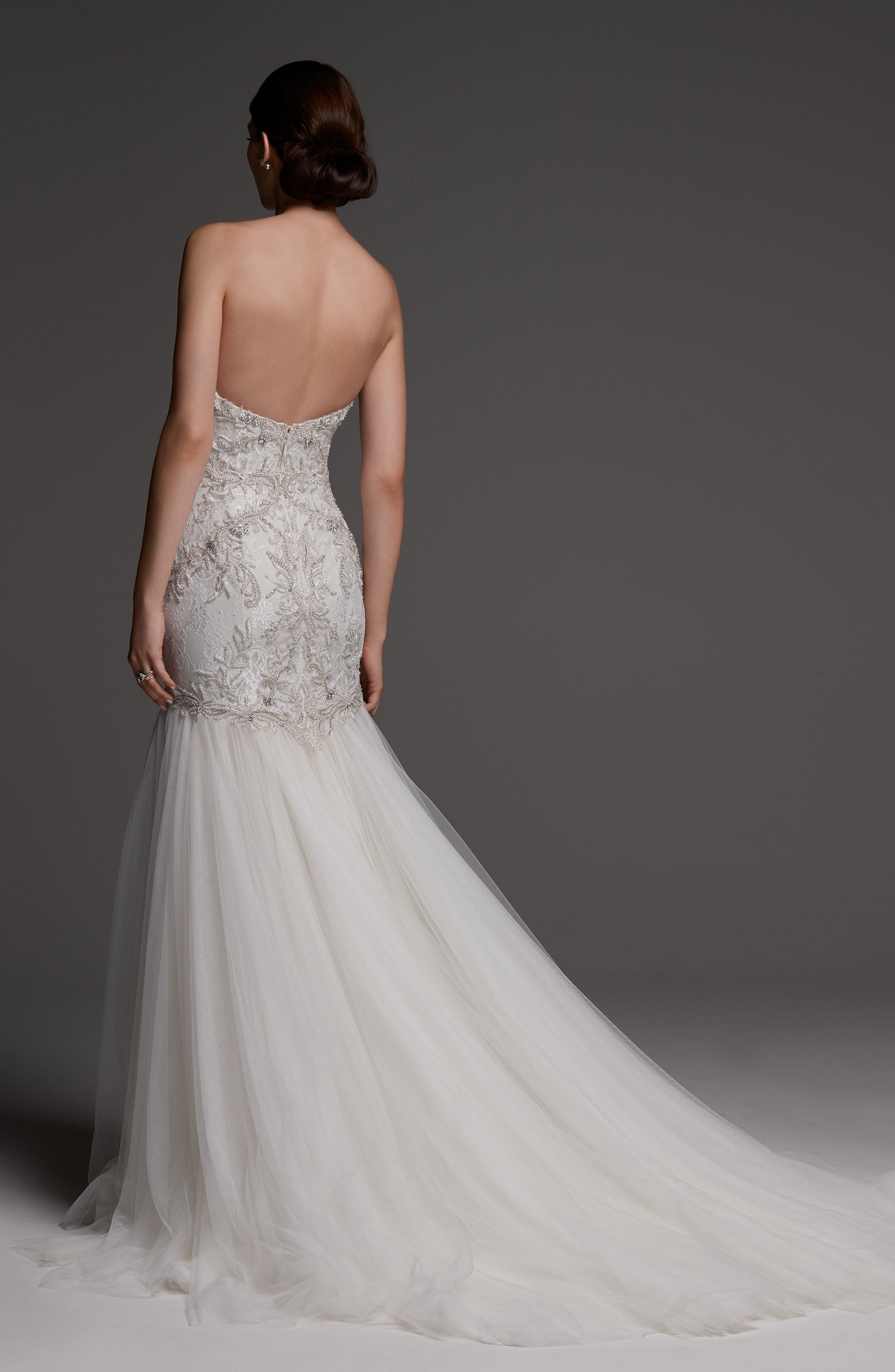 Monaco Lace Mermaid Gown,                             Alternate thumbnail 2, color,                             Ivory/ Oyster