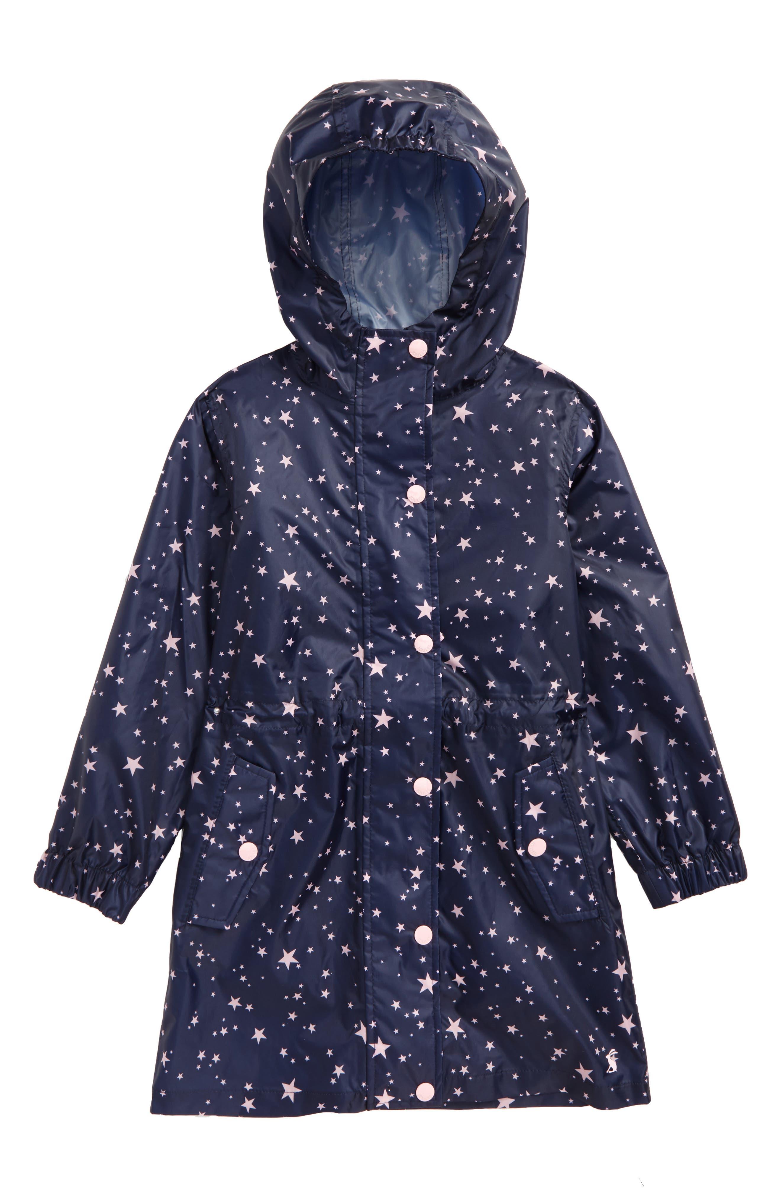 Main Image - Joules Print Packaway Rain Coat (Toddler Girls, Little Girls & Big Girls)