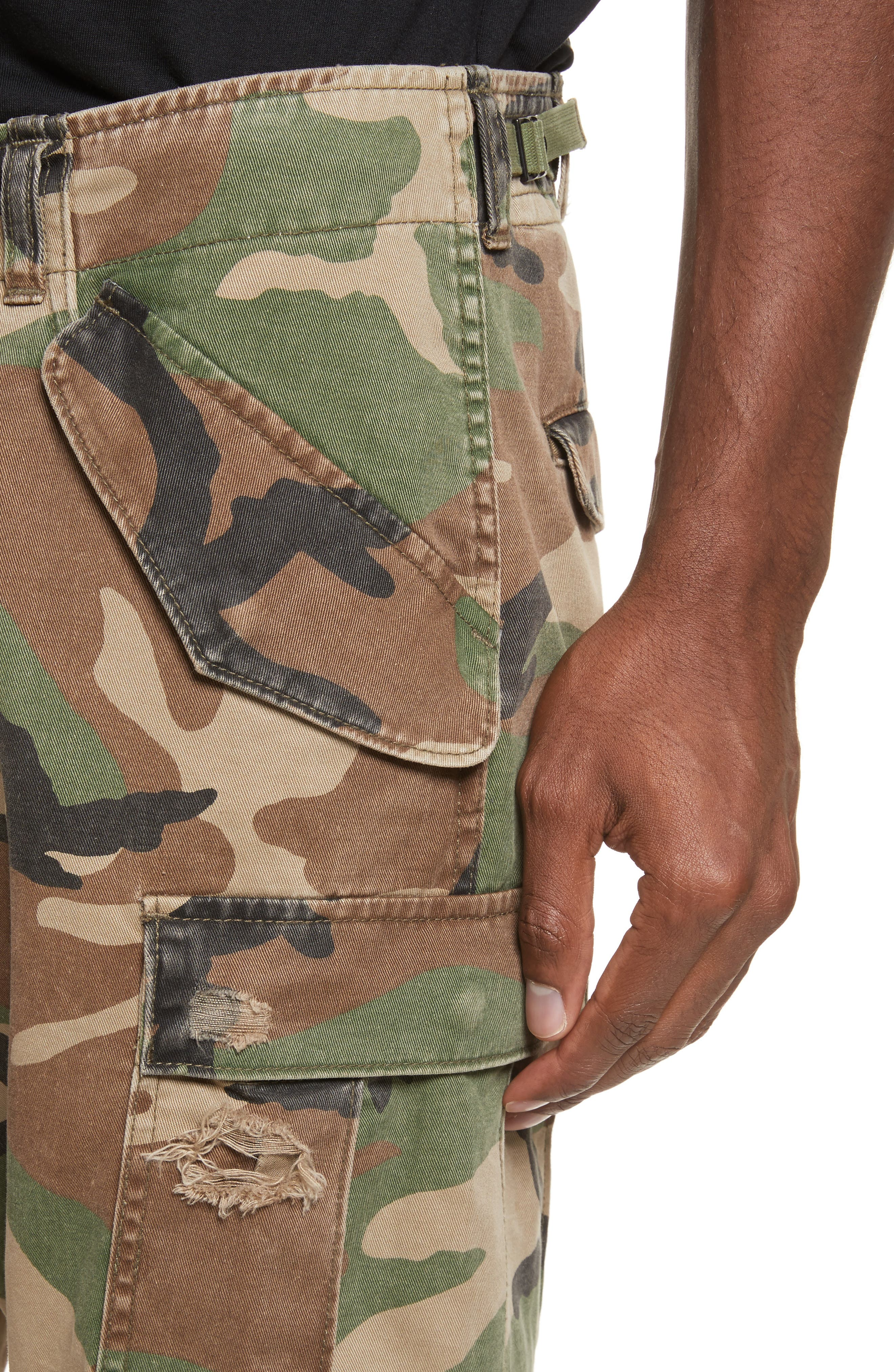 Surplus Shredded Camo Cargo Shorts,                             Alternate thumbnail 4, color,                             Camo