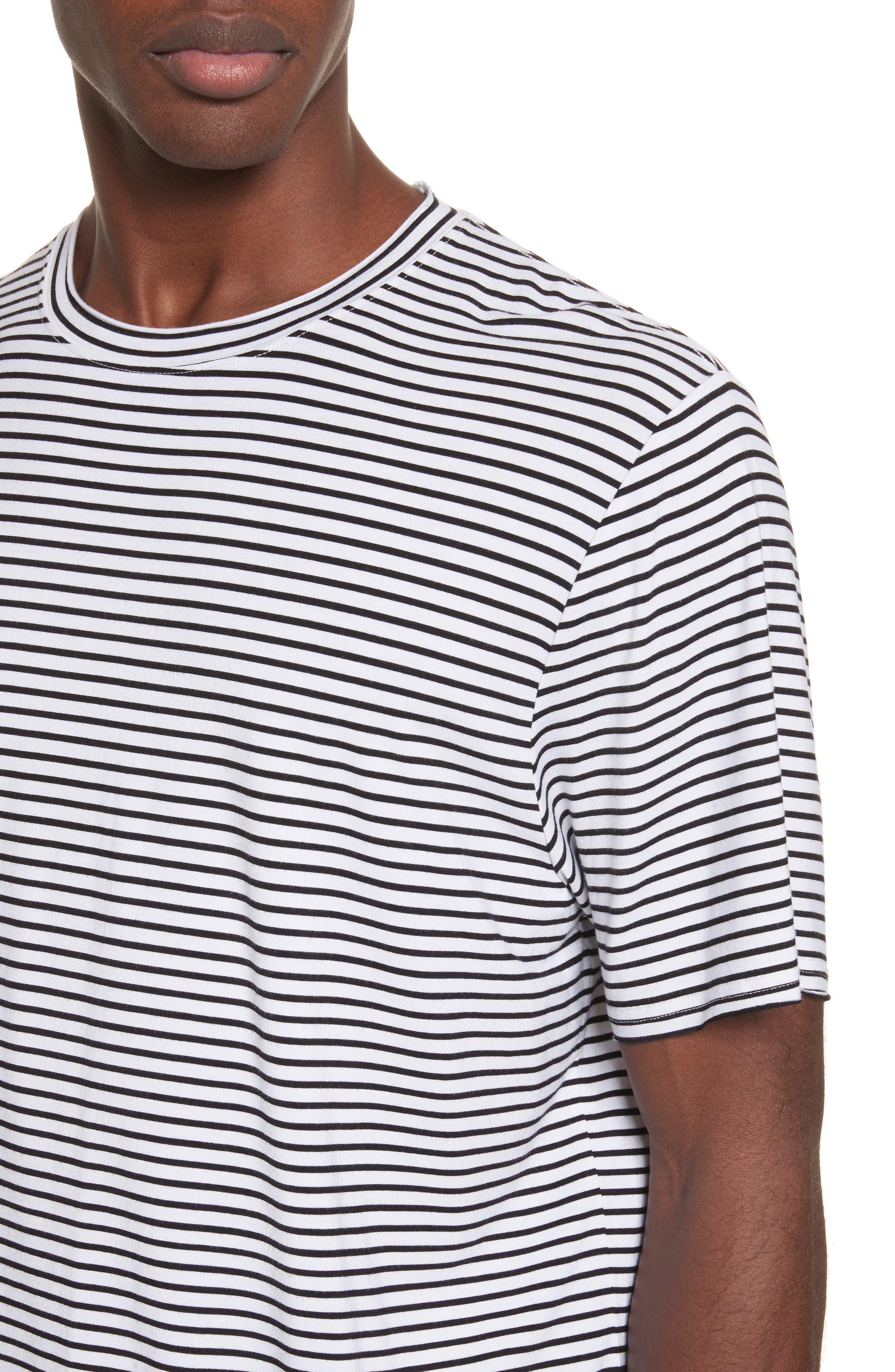 Raw Edge Stripe T-Shirt,                             Alternate thumbnail 4, color,                             Black/ White
