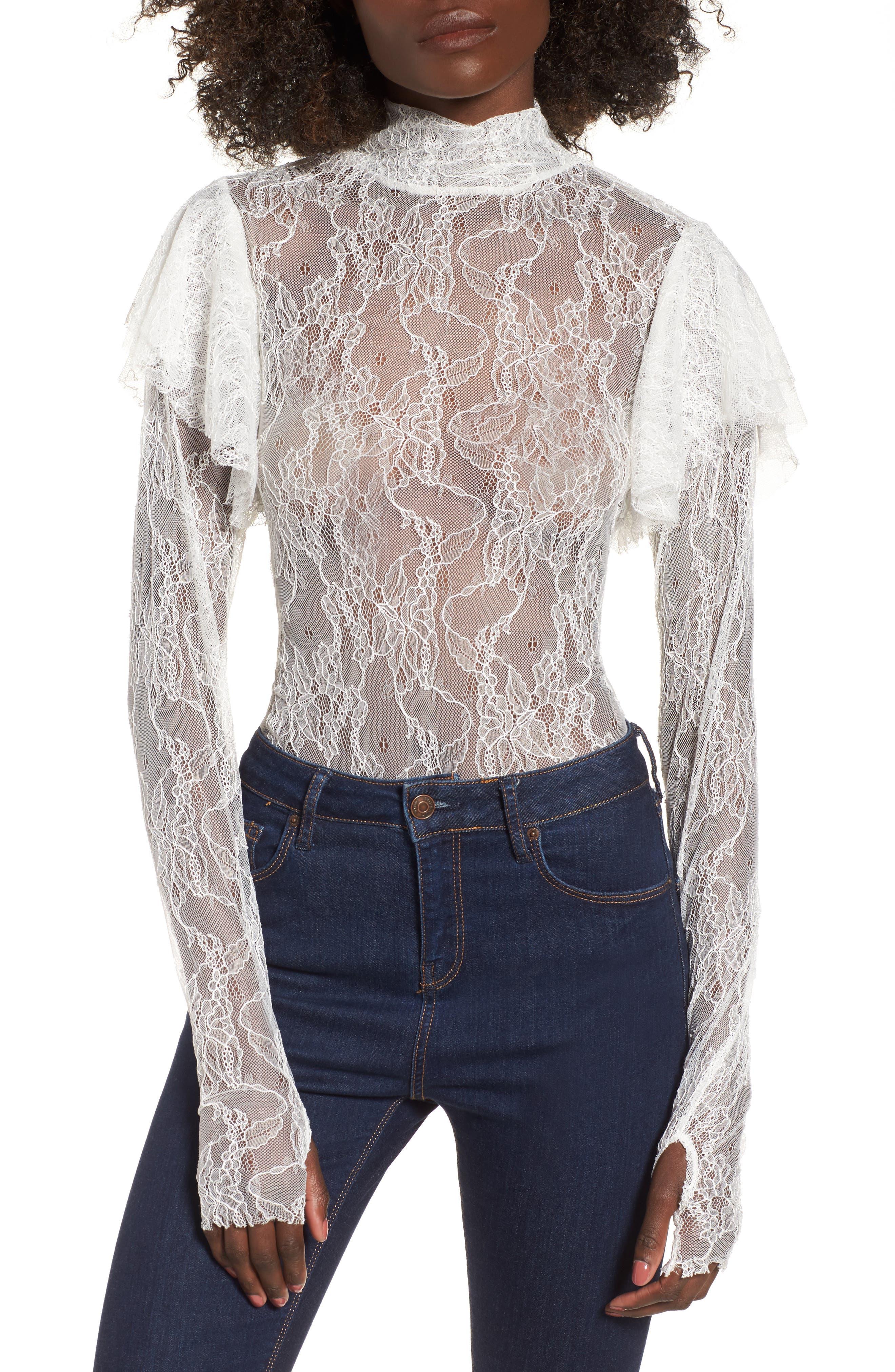 Esme Ruffle Lace Bodysuit,                         Main,                         color, Blanc