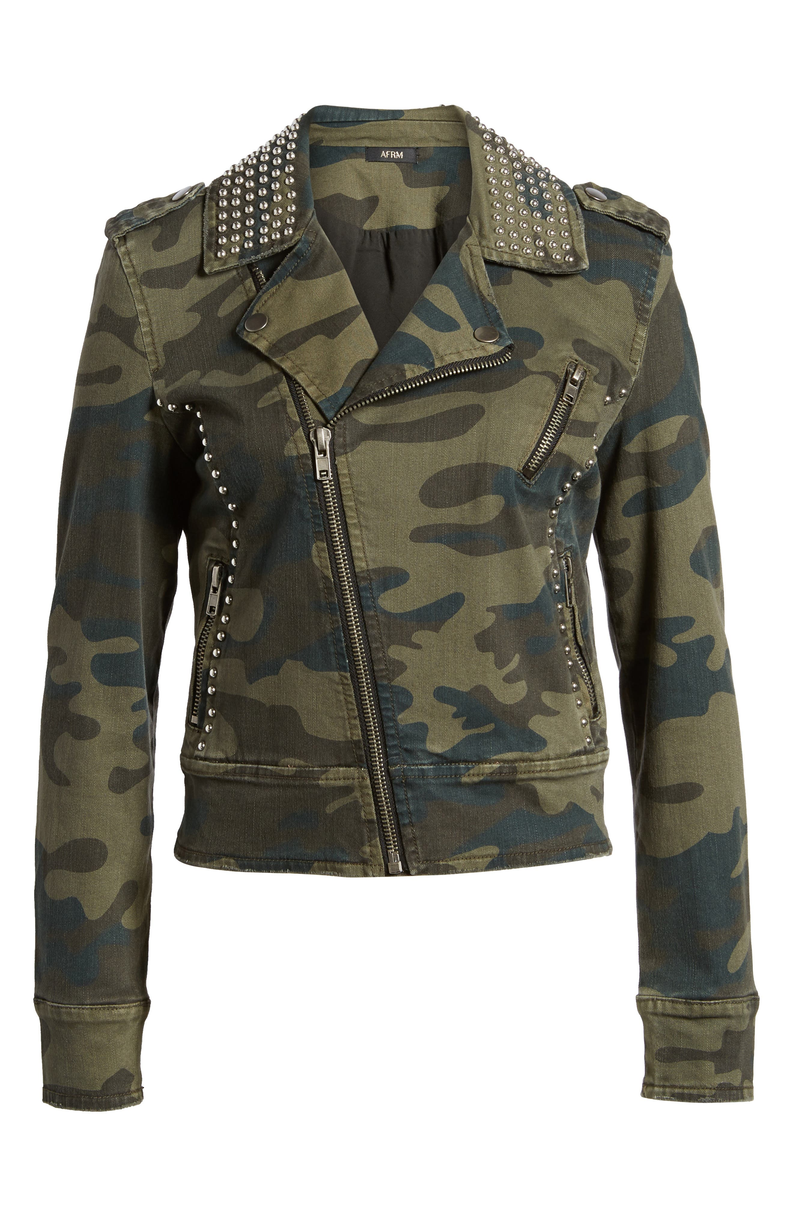 Studded Leopard Print Moto Jacket,                             Alternate thumbnail 6, color,                             Camo